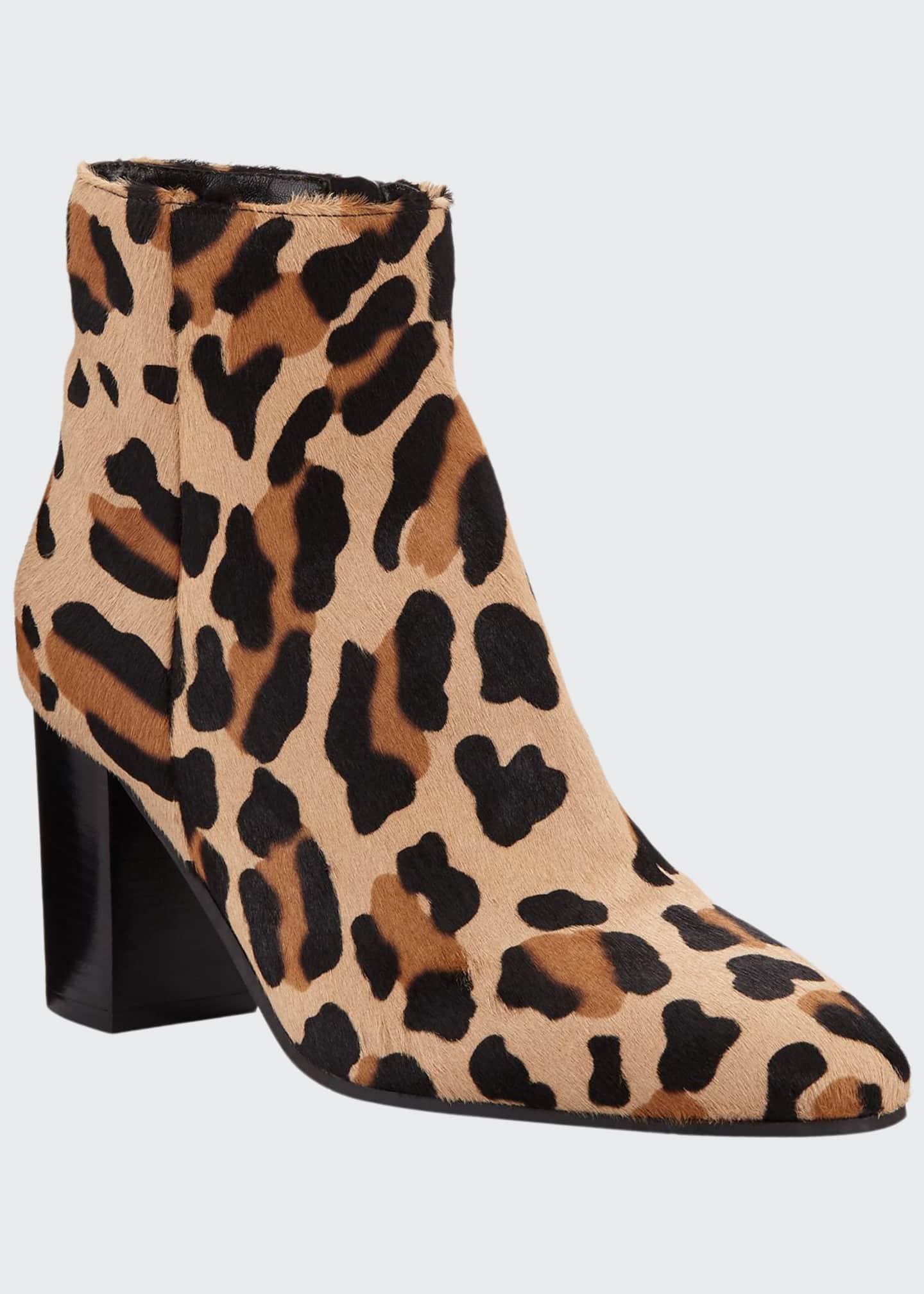 Aquatalia Florita Leopard-Print Calf Hair Booties