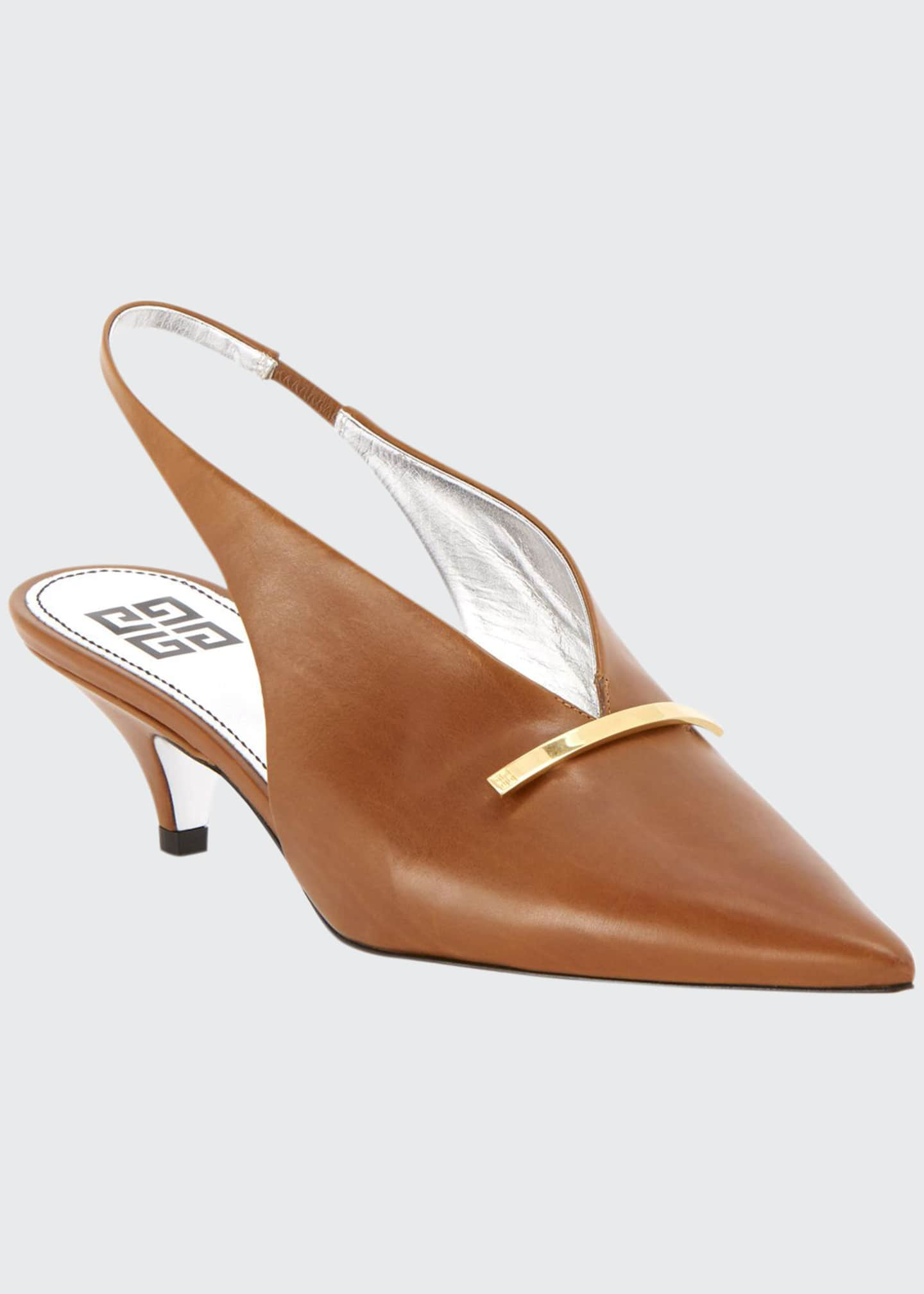 Givenchy Leather Kitten-Heel Slingback Pumps with Golden Bar