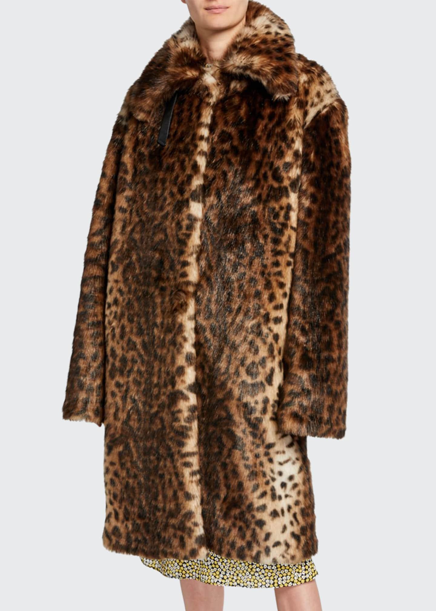 Rokh Leopard-Print Faux-Fur Oversized Coat