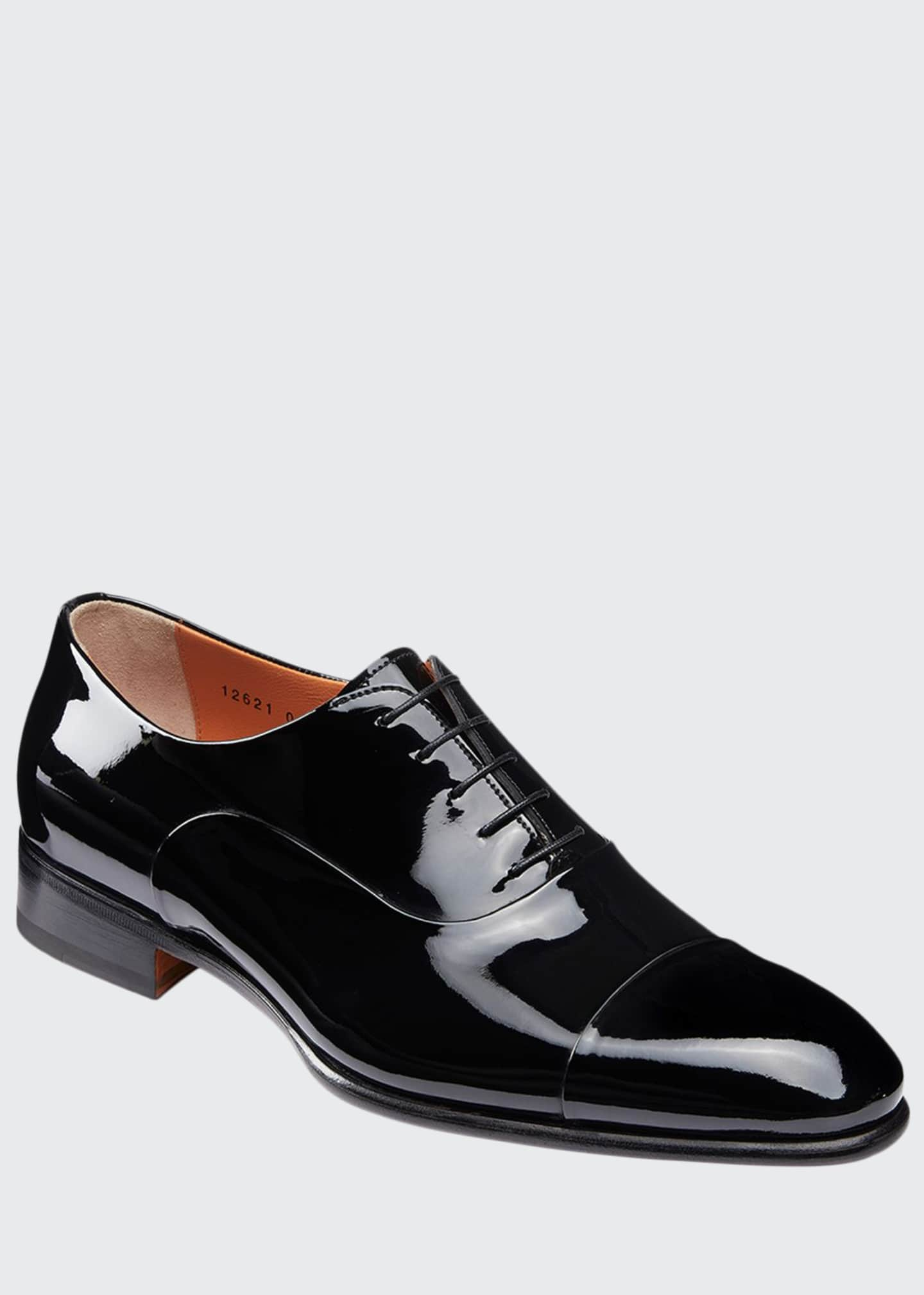 Image 1 of 5: Men's Isaac Patent Leather Lace-Up Shoes