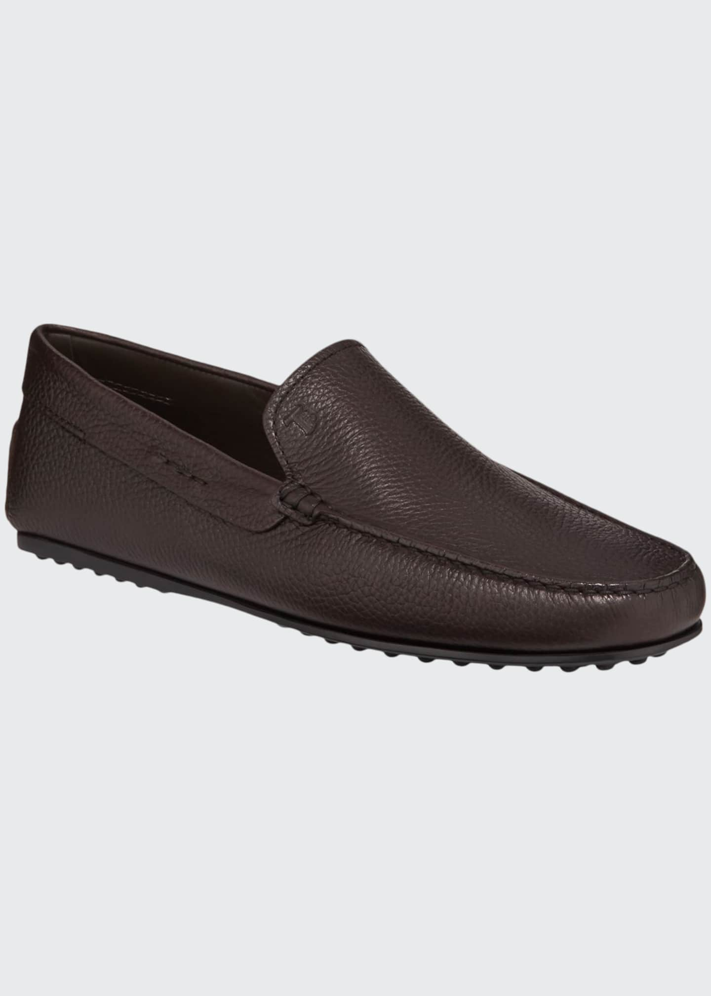 Image 1 of 3: Men's City Leather Moc-Toe Driver Shoes
