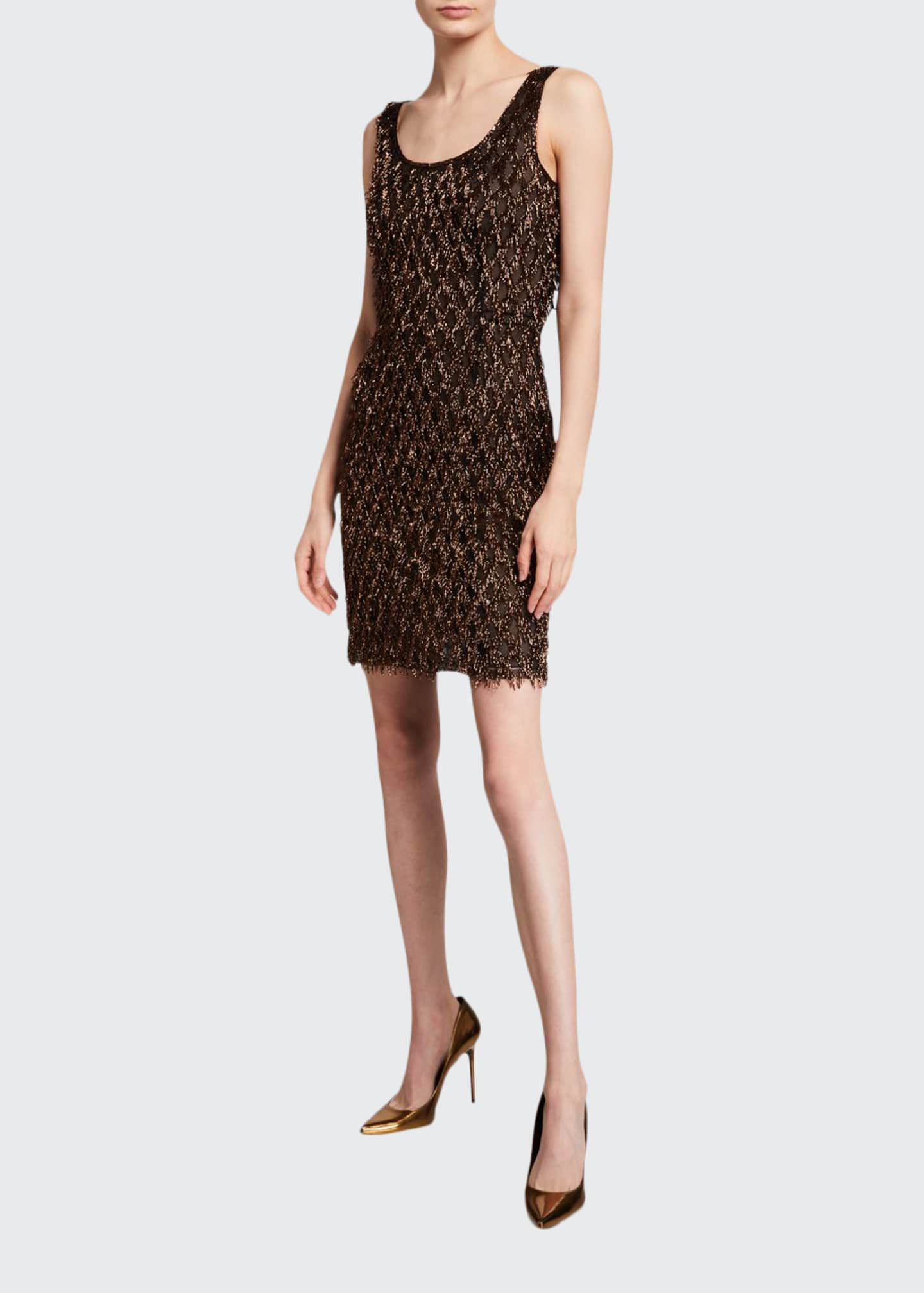 J. Mendel Metallic Striped-Mesh Cocktail Dress