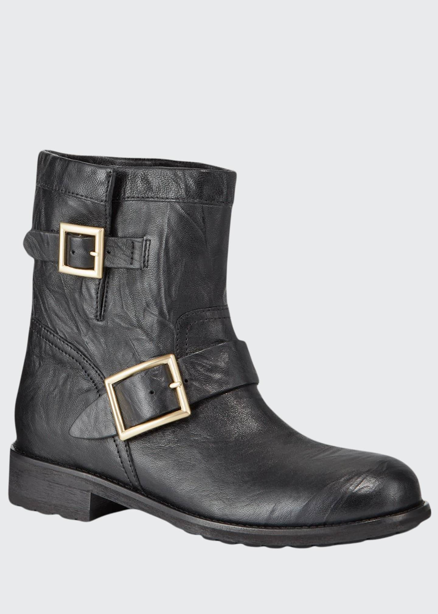 Image 1 of 3: Youth Leather Biker Boots
