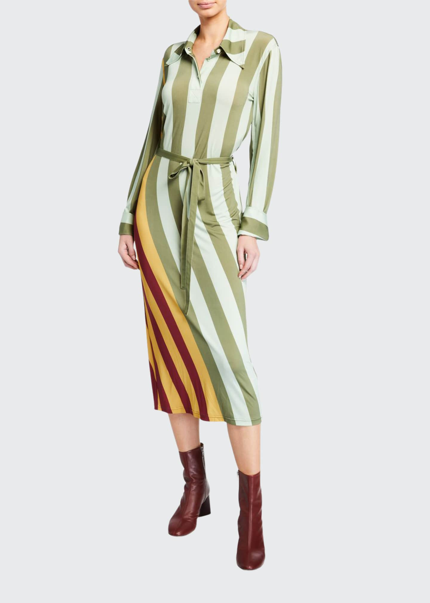 JW Anderson Wrap-Striped Polo Dress