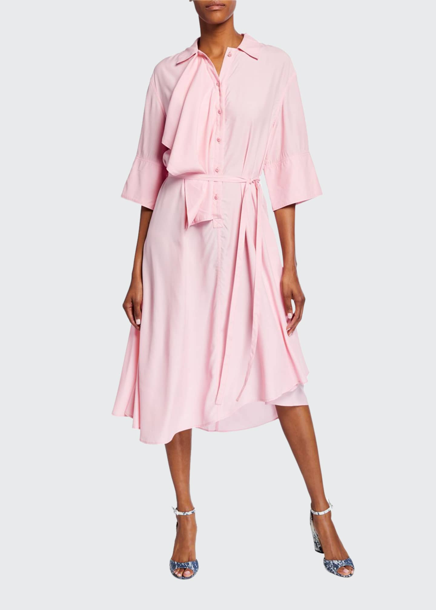 JW Anderson Ruffled Drape-Front Draped Dress
