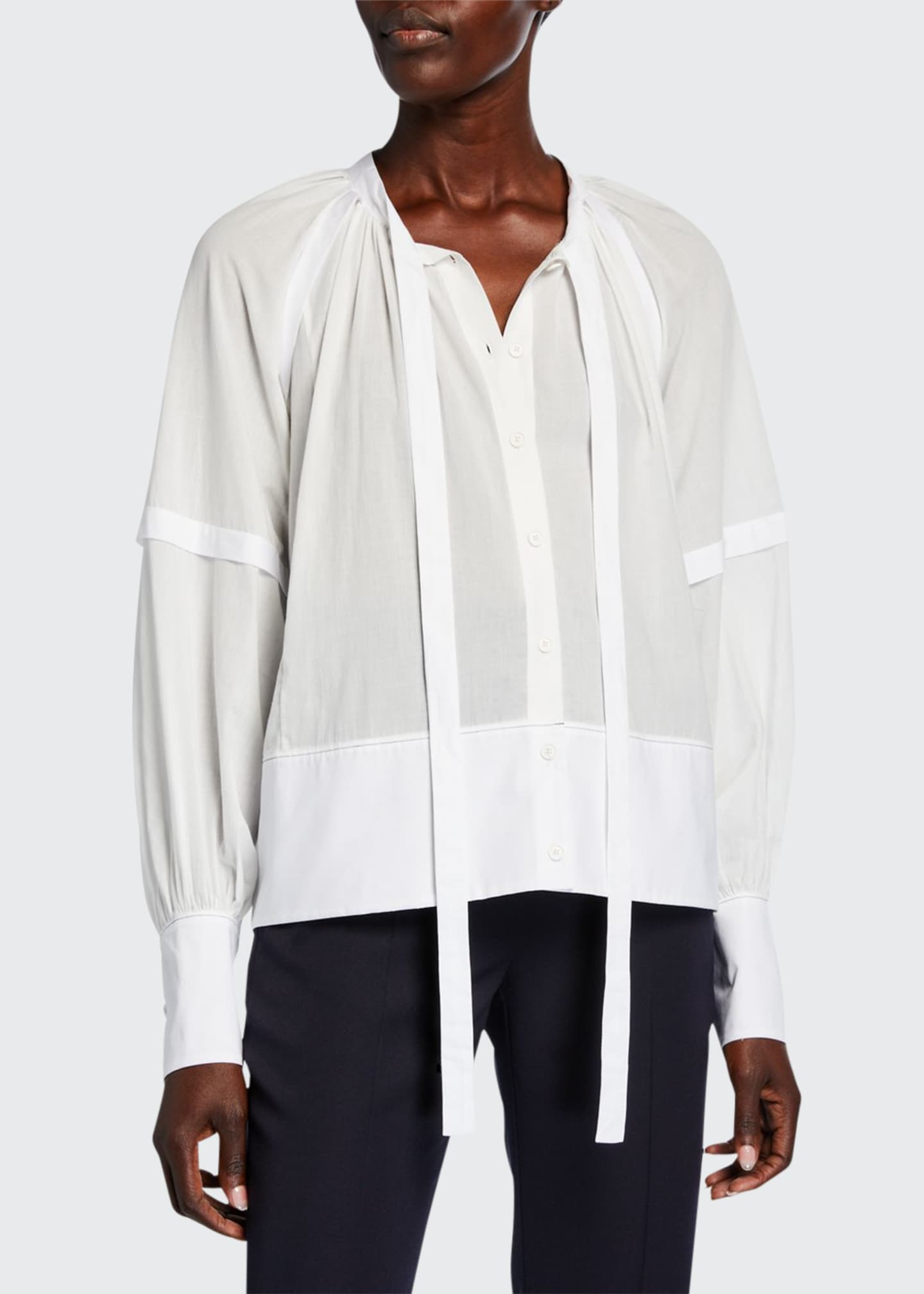 Proenza Schouler Crewneck Button-Front Neck-Tie Top