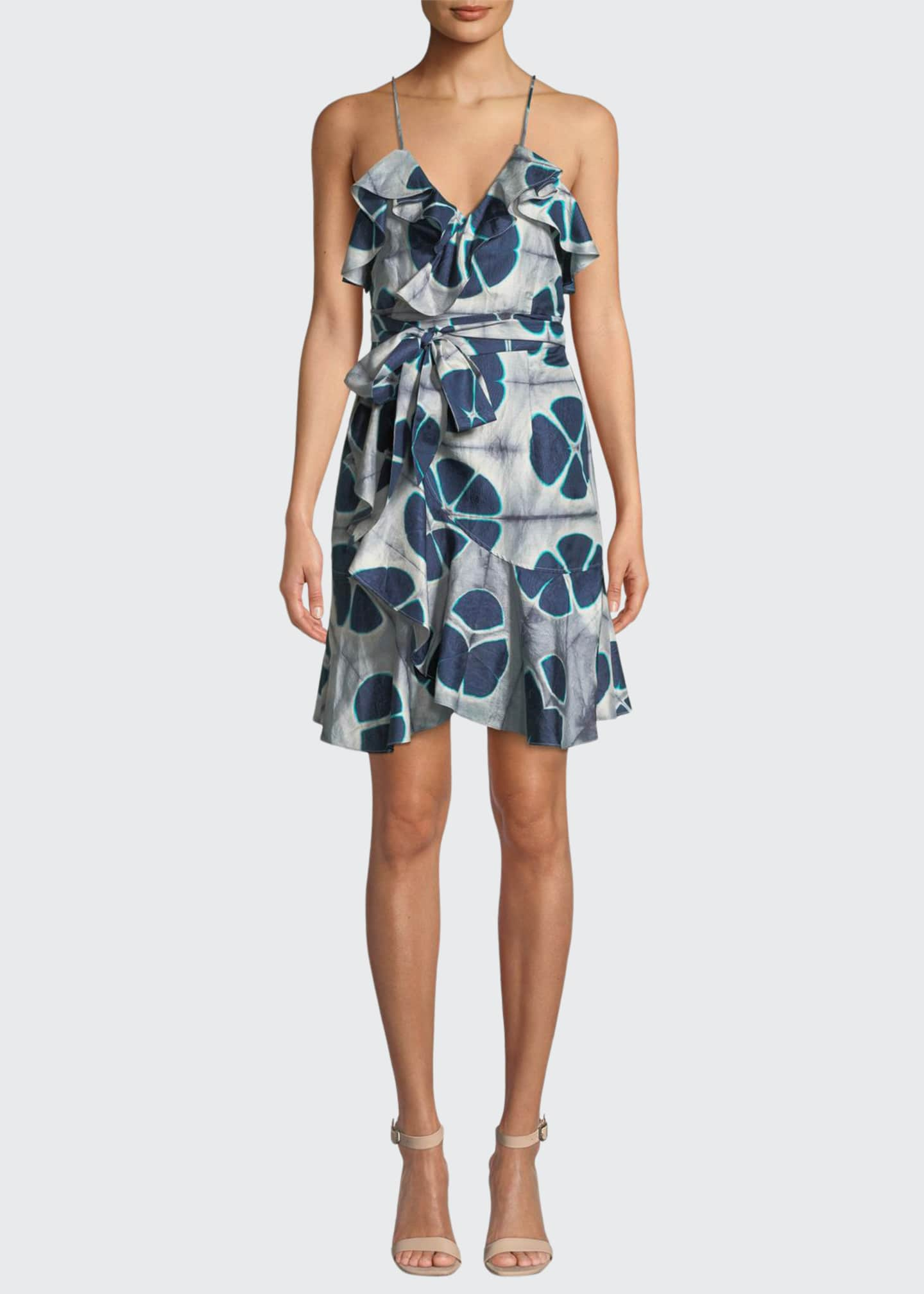 Image 1 of 3: Kalani Silk Patterned Flounce Self-Tie Dress