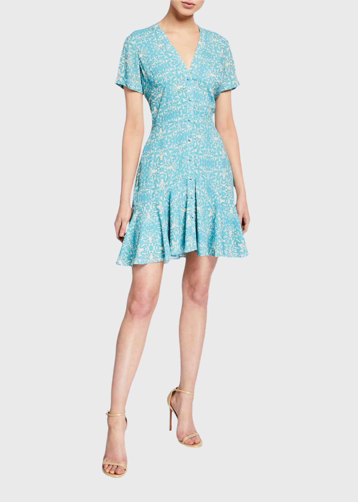 Image 1 of 2: Delia Printed Button-Down Short Dress