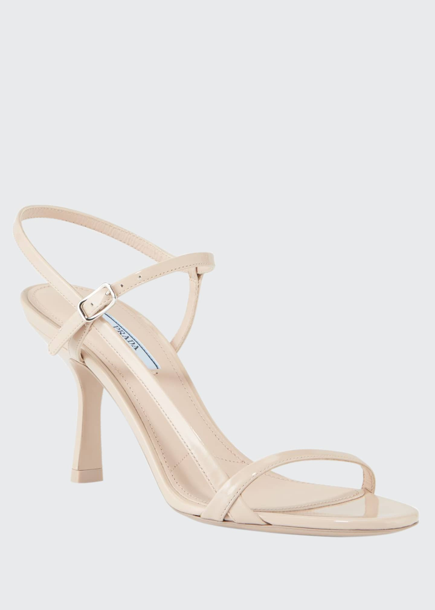 Prada 75mm Strappy Patent Leather Sandals