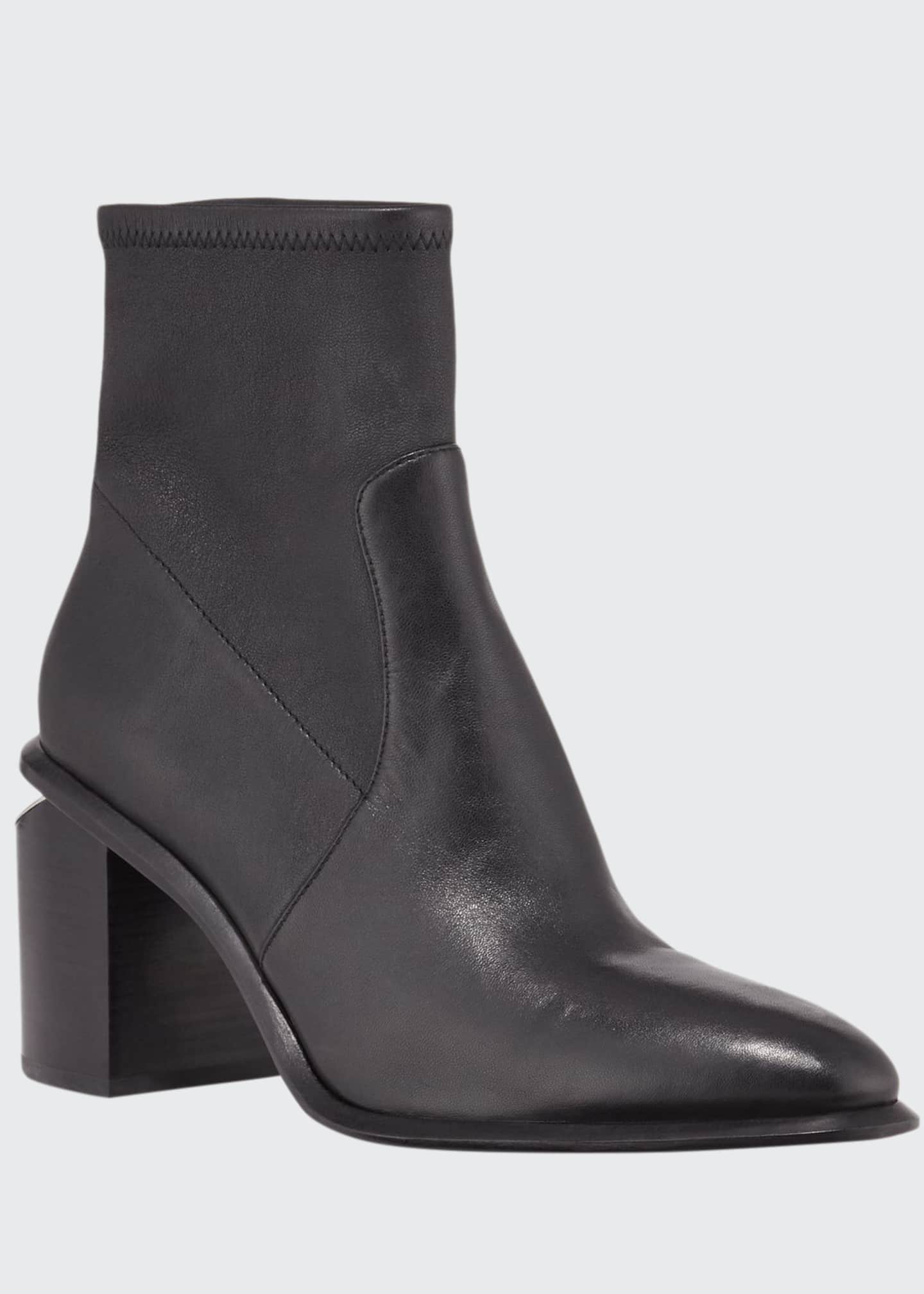 Image 1 of 3: Anna Leather Block-Heel Stretch Booties