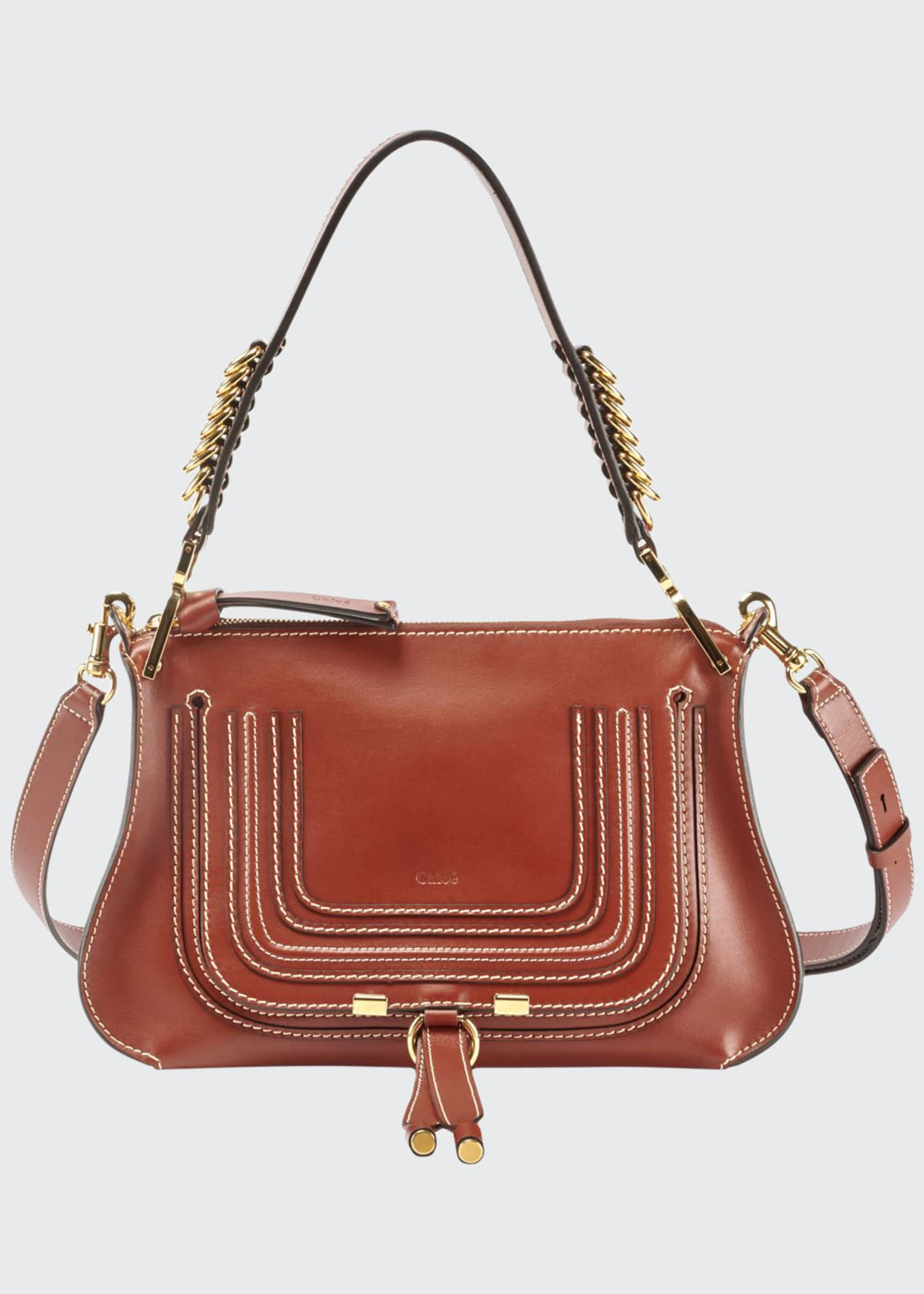 Chloe Marcie Saddle Shiny Shoulder Bag