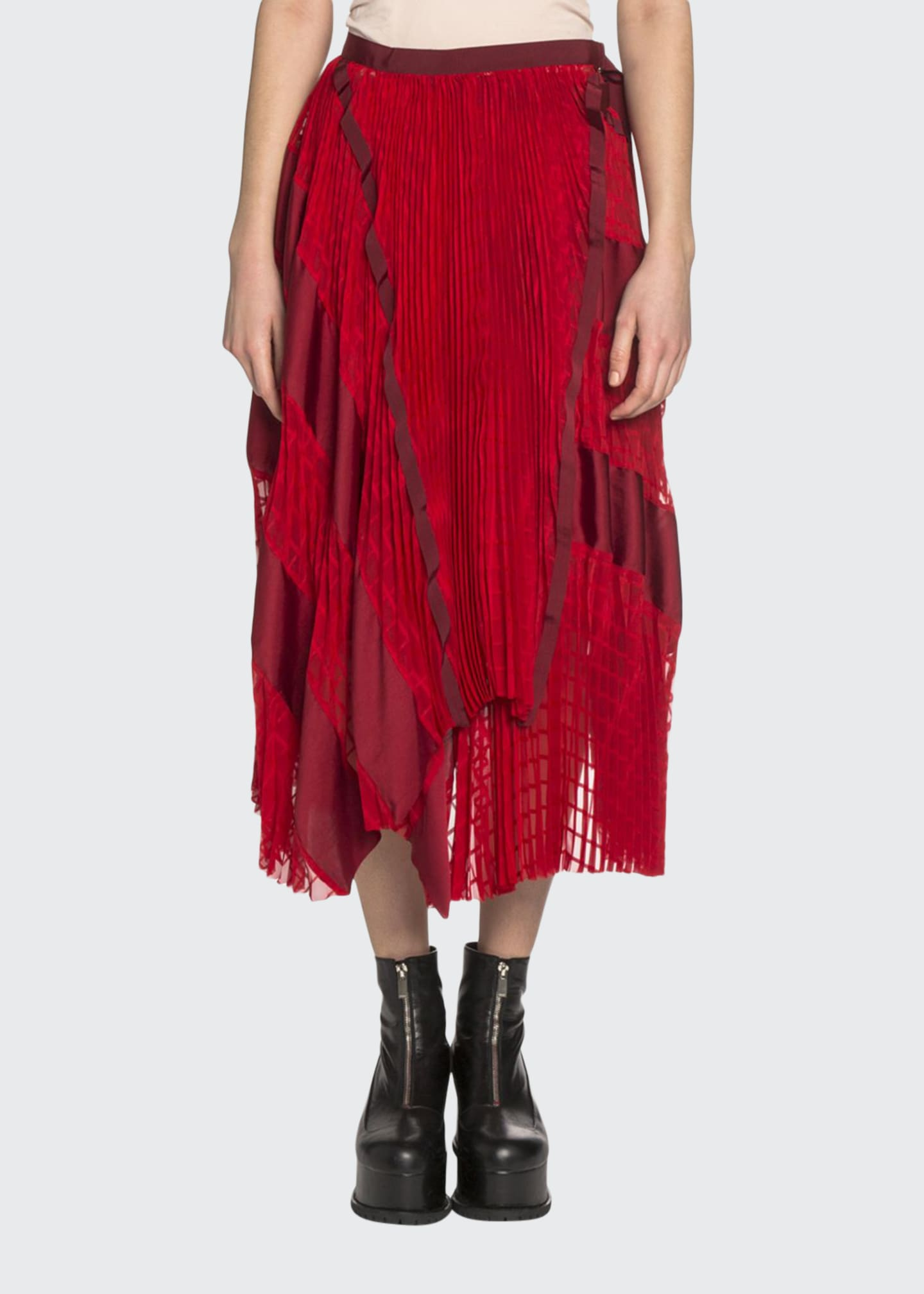 SACAI Lace & Satin Panel Asymmetric Midi Skirt