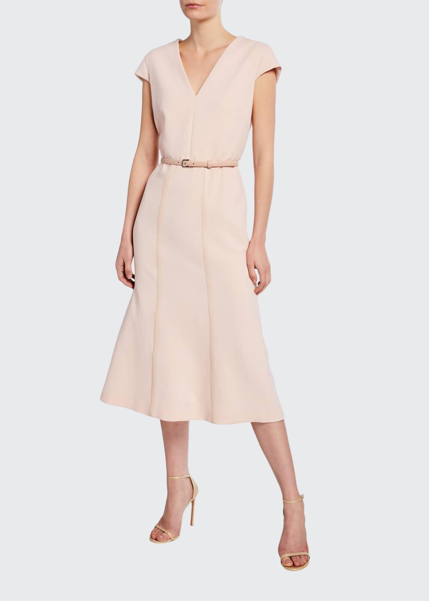 Maxmara Giberna Cap-Sleeve Belted Dress