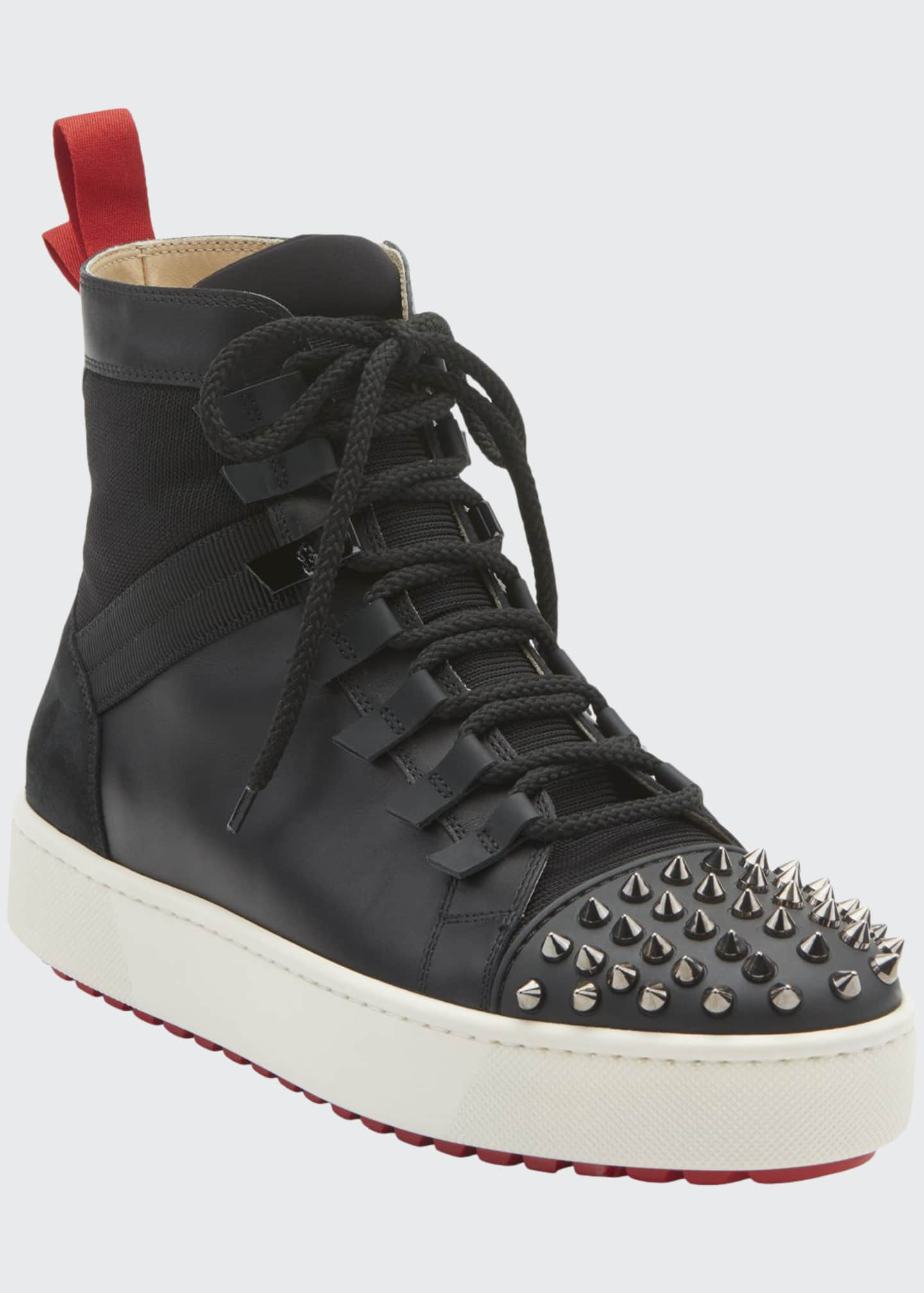 Image 1 of 2: Men's Spike Leather Red Sole Trainer Sneakers