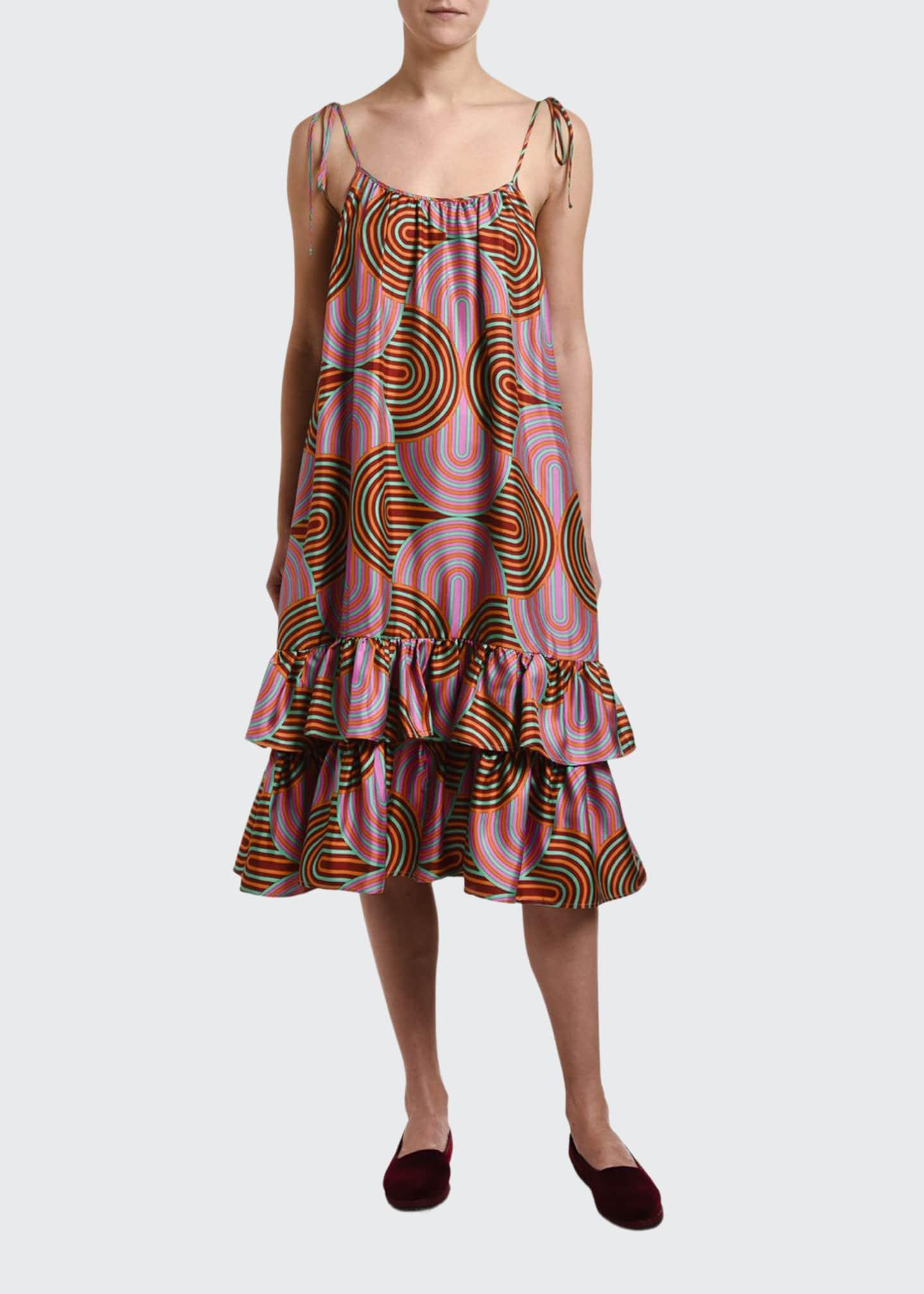 Double J Tie-Shoulder Slinky-Print Bouncy Dress