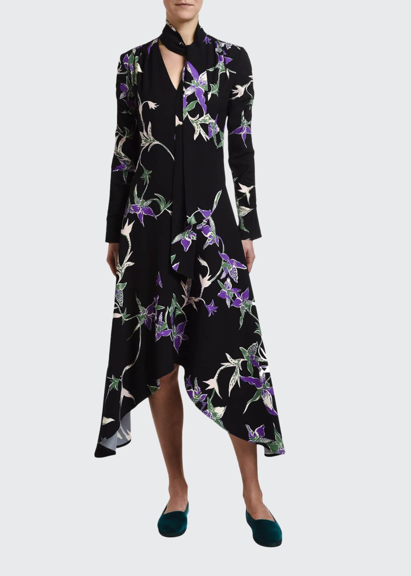 Double J Orchid-Print Sable Tie-Neck Handkerchief Dress