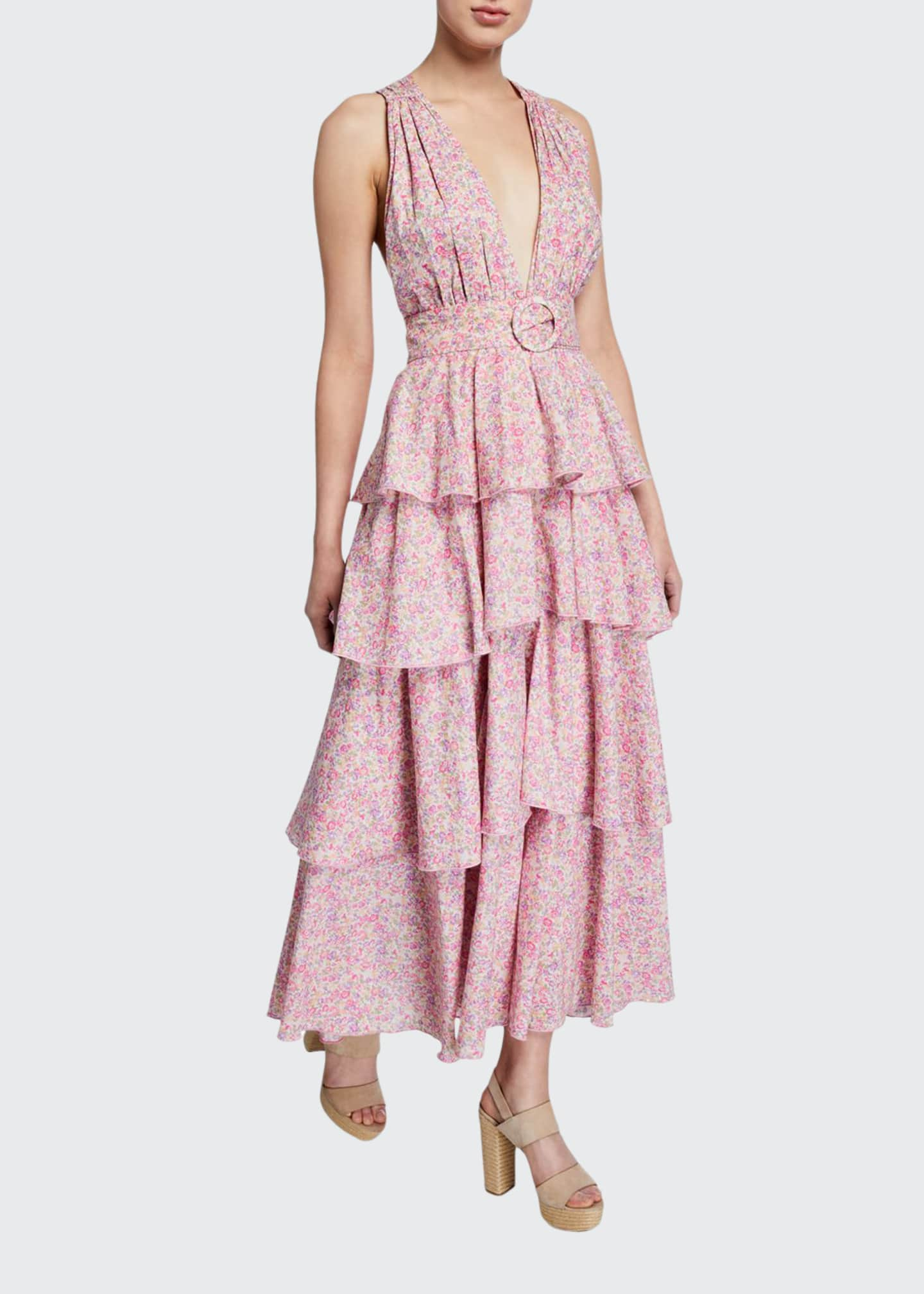Petersyn Paulina Belted Tiered Floral-Print Long Dress