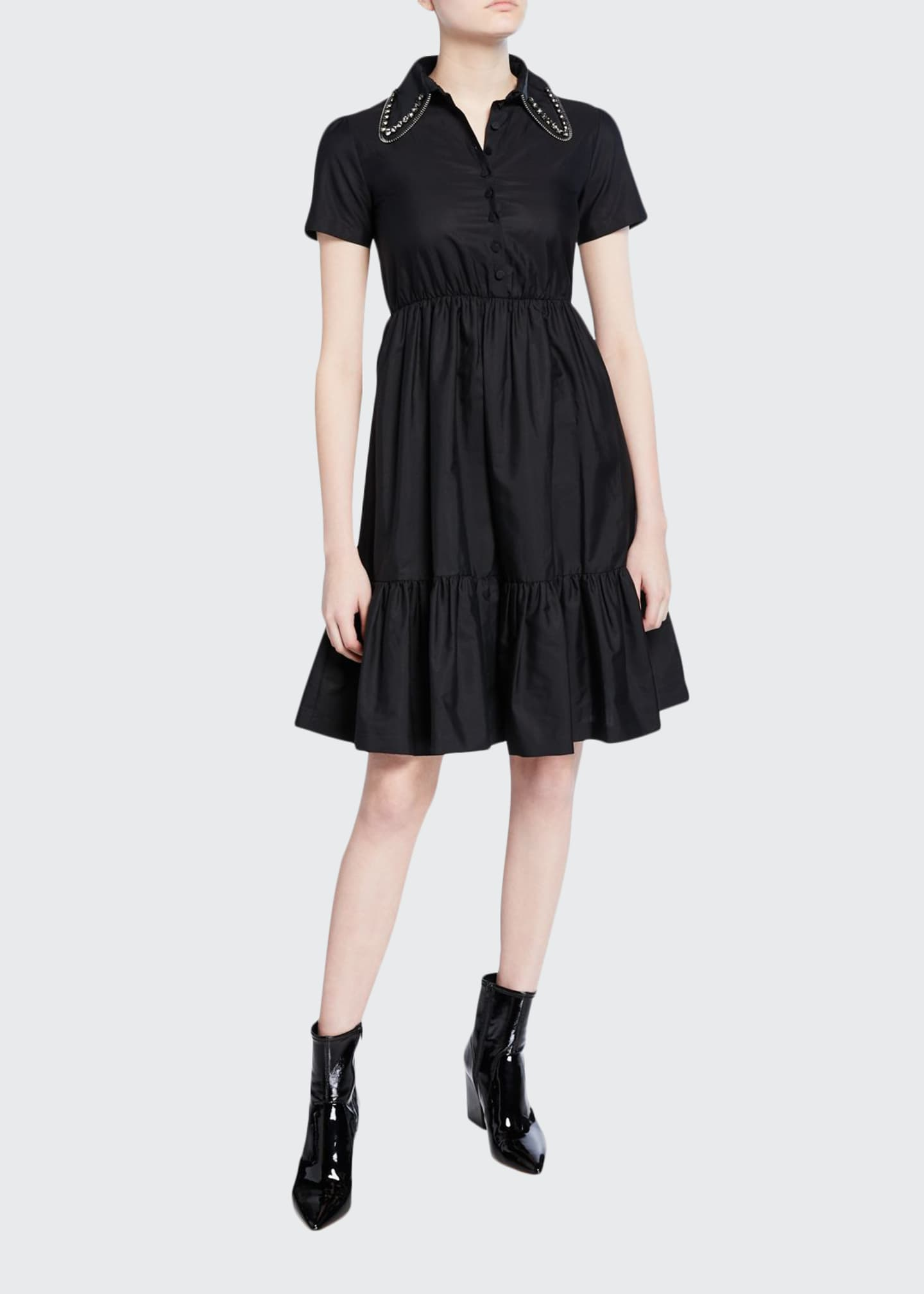 No. 21 Collared Short-Sleeve Dress with Crystals