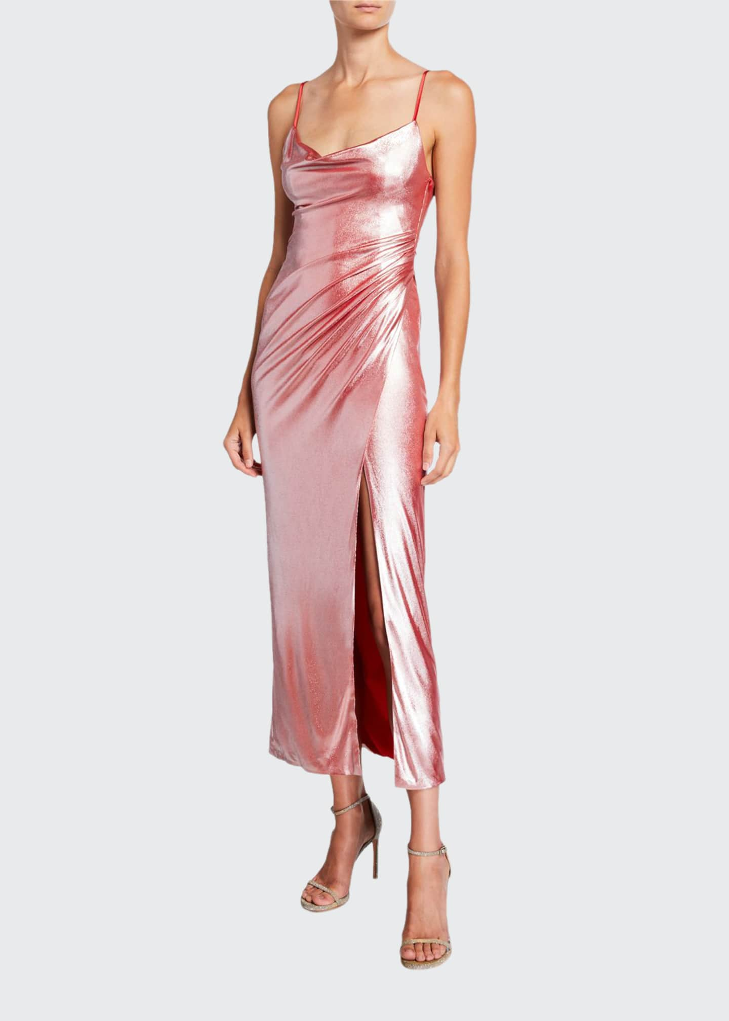 Galvan Metallic Jersey Slip Dress