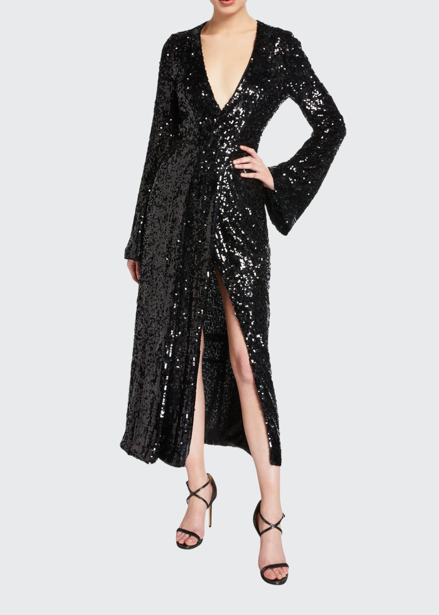 Galvan Sequined Wrapped V-Neck Dress