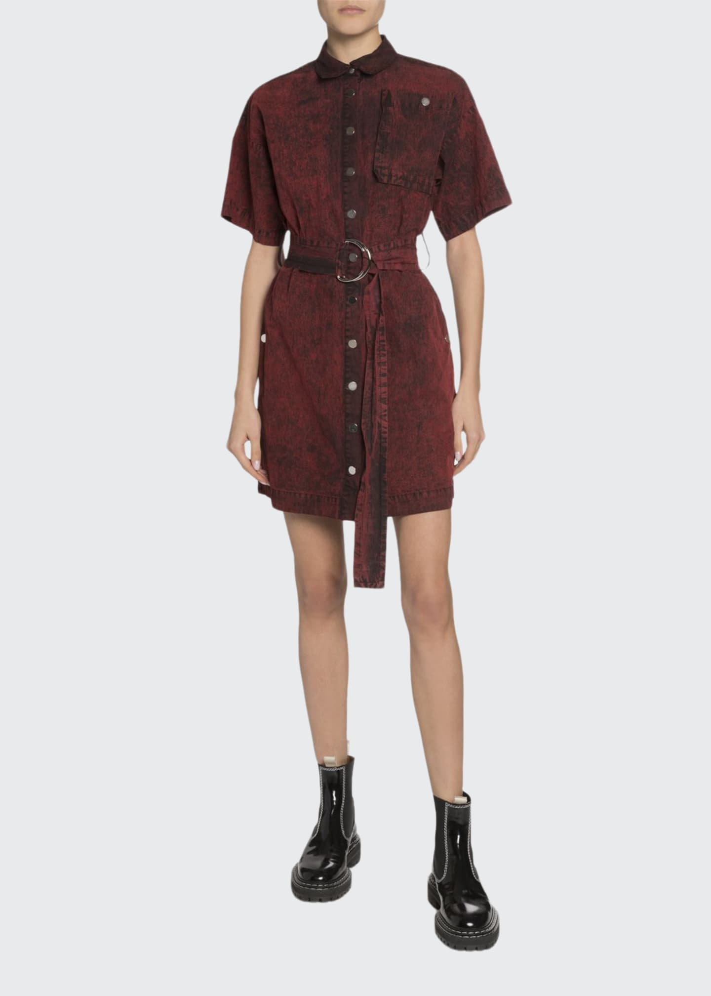 Proenza Schouler White Label Short-Sleeve Belted Snap-Front Shirt