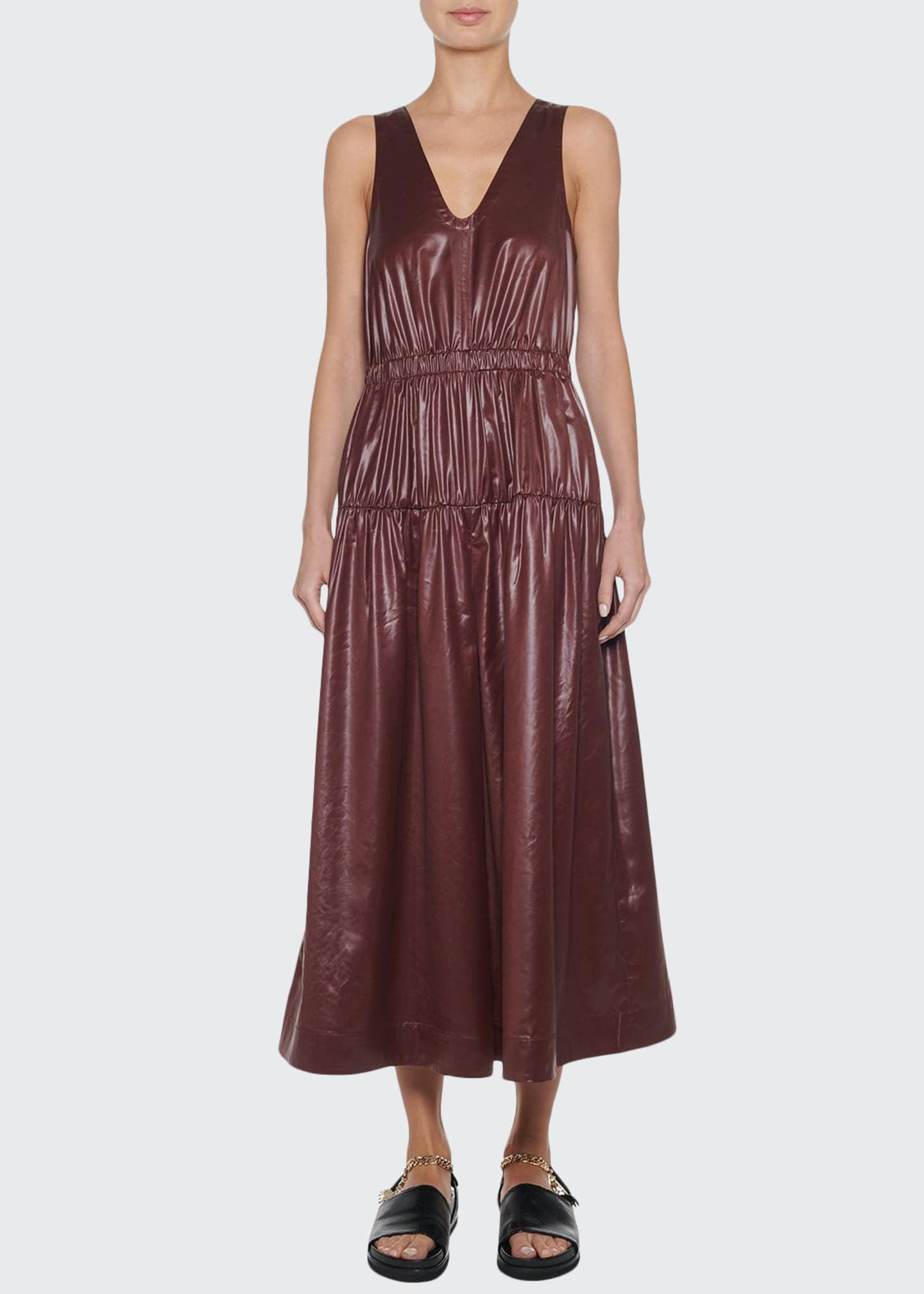 Image 1 of 3: Sleeveless Shirred Culotte Jumpsuit