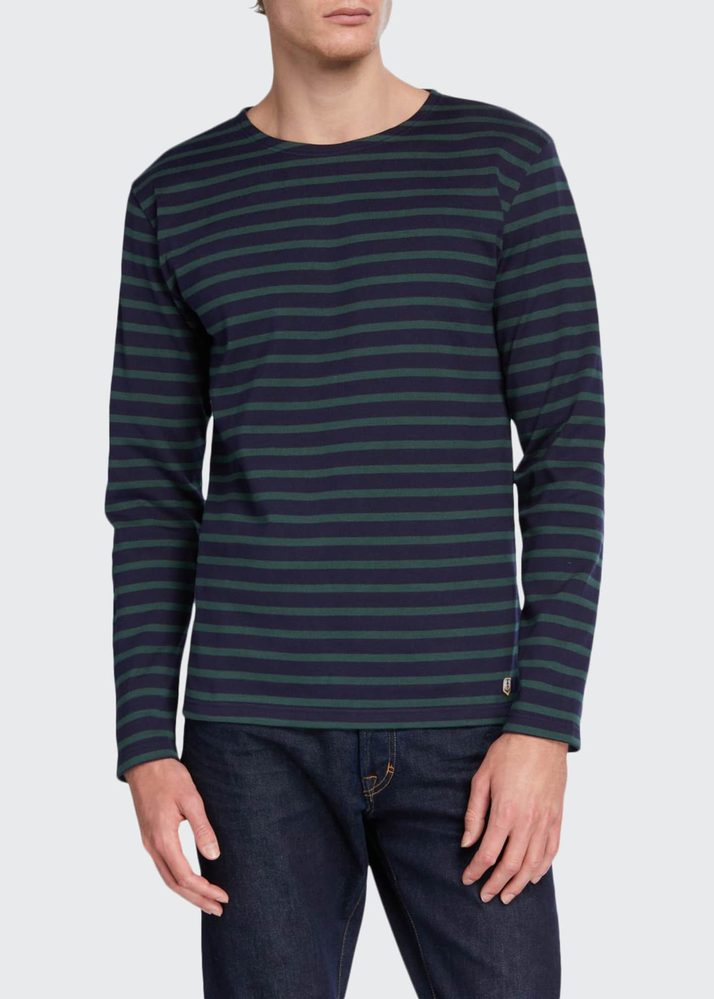 Image 1 of 2: Men's Striped Long-Sleeve T-Shirt