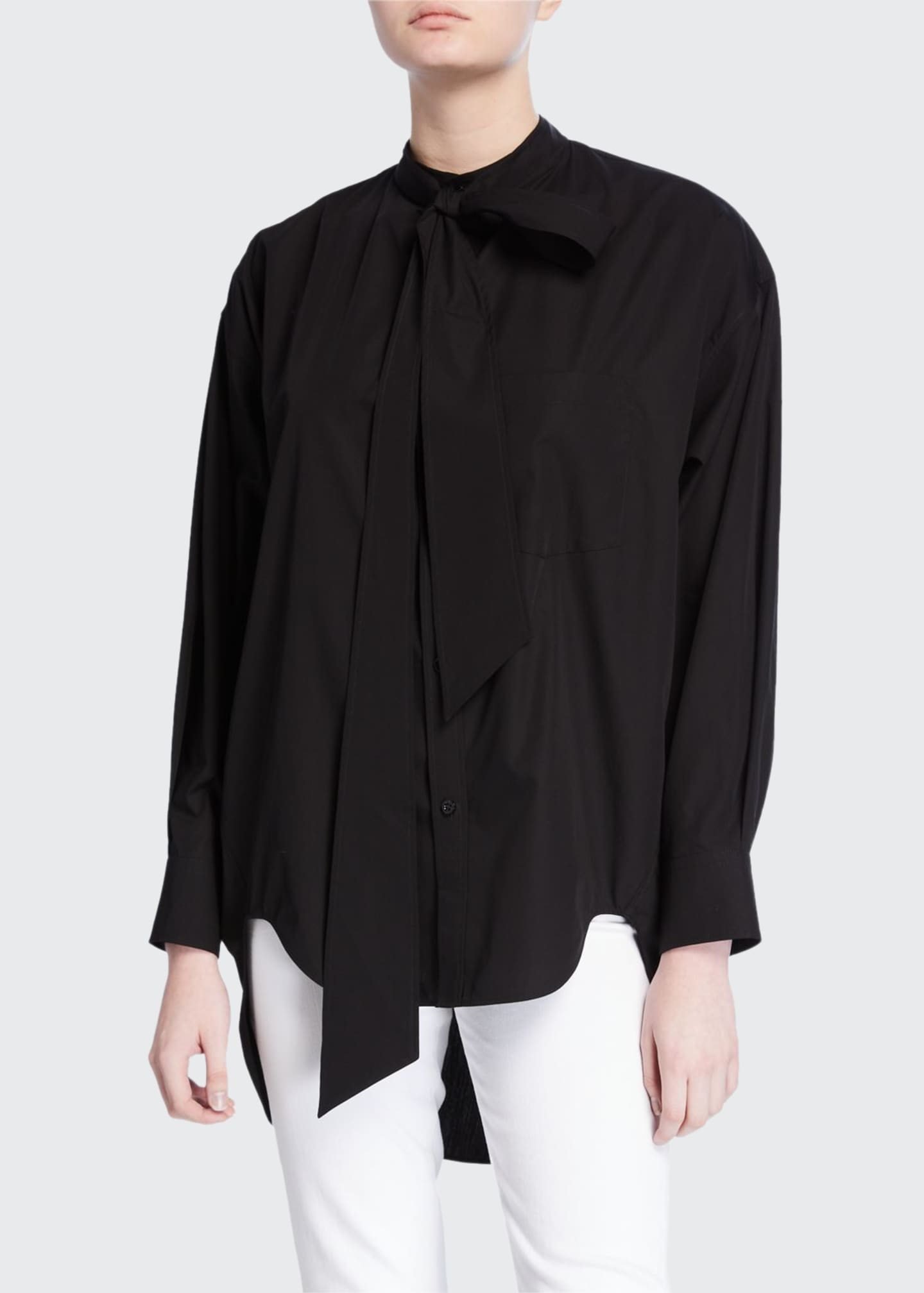 Balenciaga Tie-Neck Swing Top
