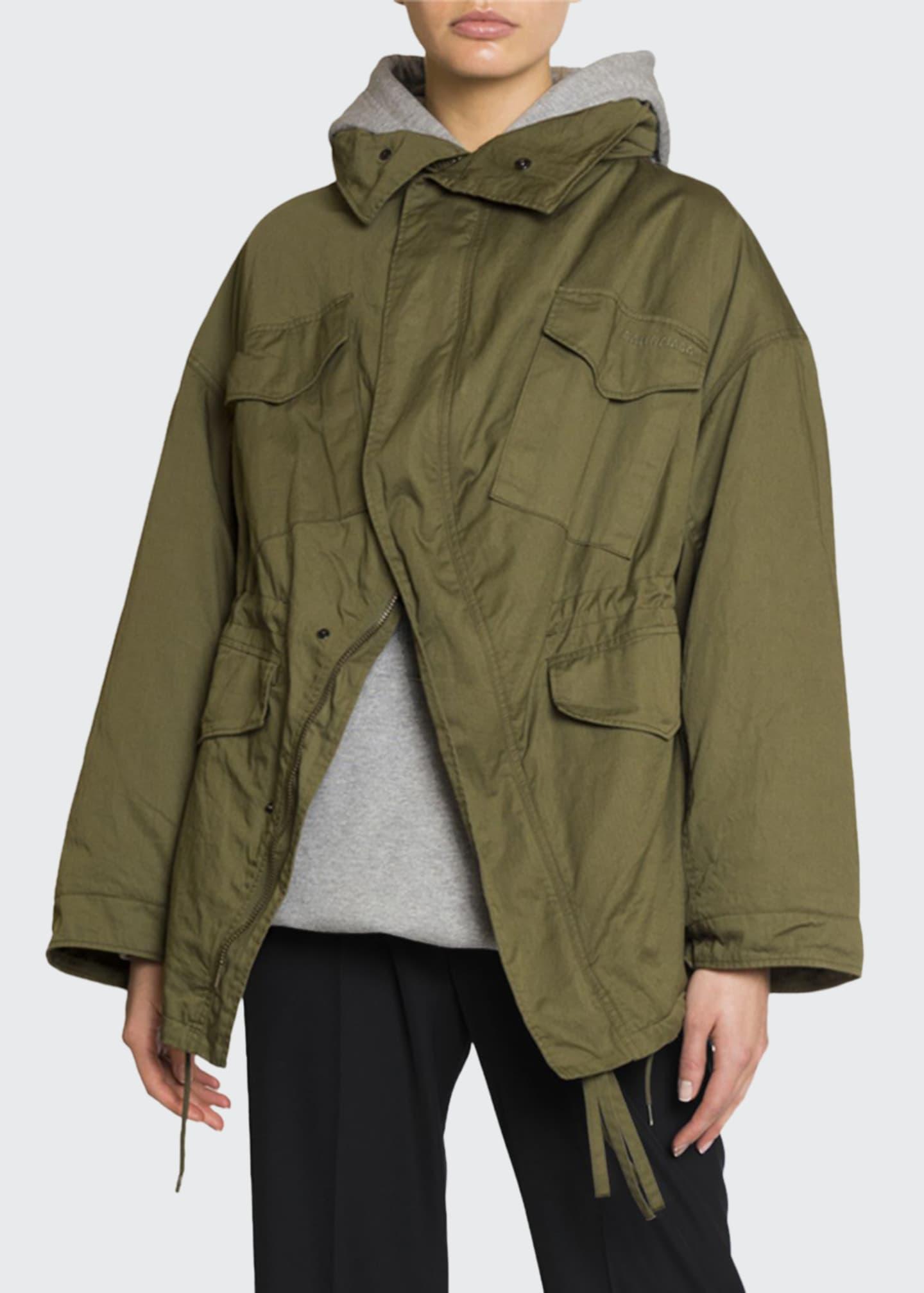 Balenciaga Military-Style Oversized Swing Jacket