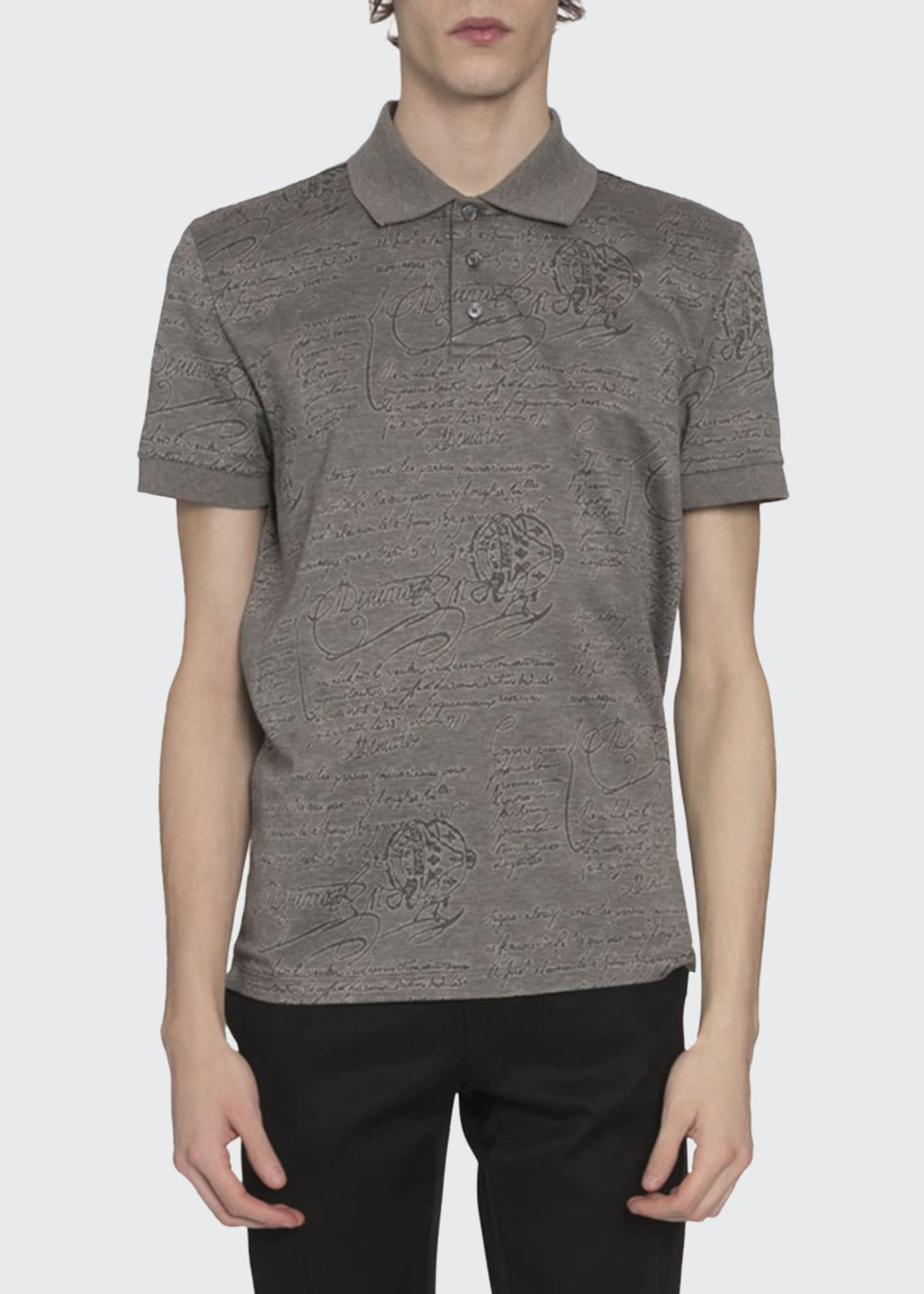 Berluti Men's Scritto-Print Polo Shirt, Gray