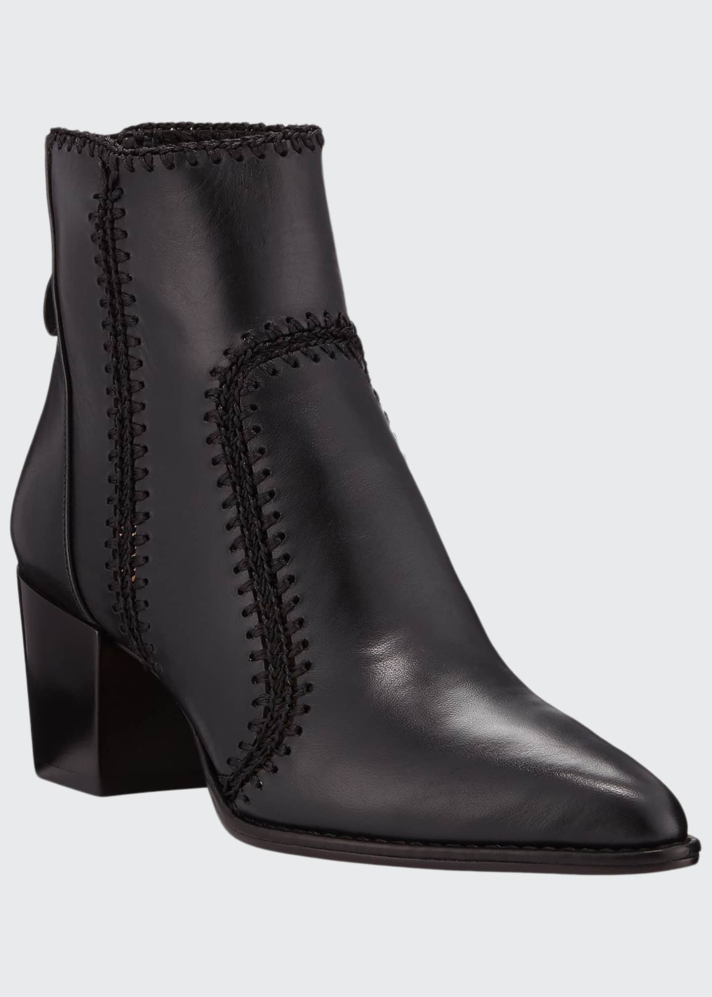 Alexandre Birman Benta Stitched Leather Block-Heel Booties