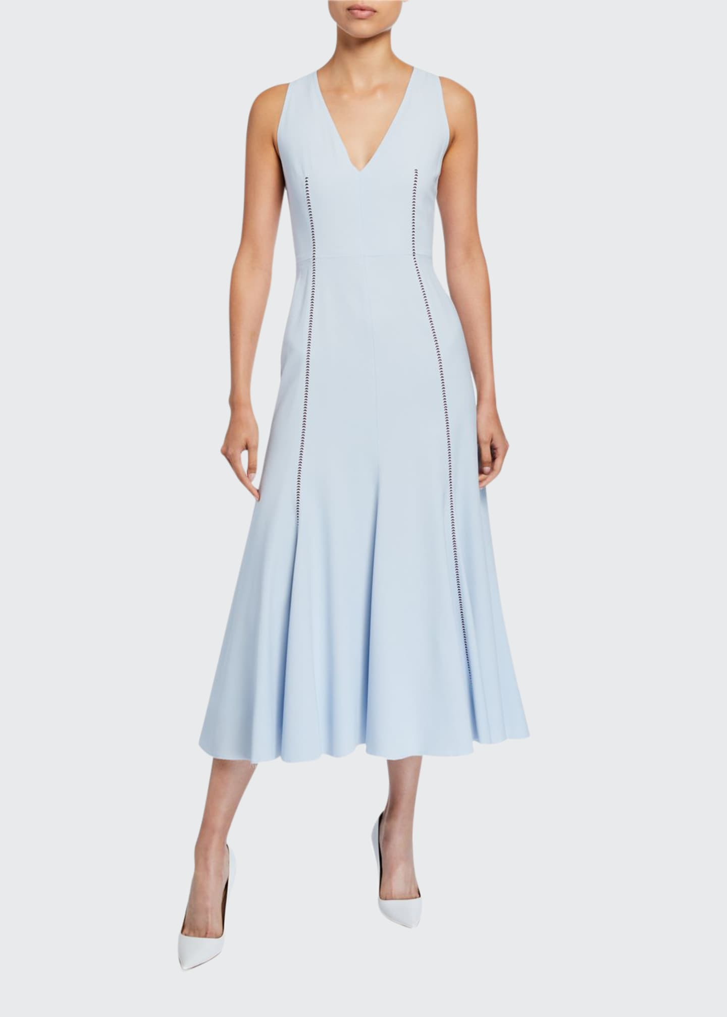 Image 1 of 2: Annabelle Contrast-Stitched Sleeveless Silk Crepe Dress