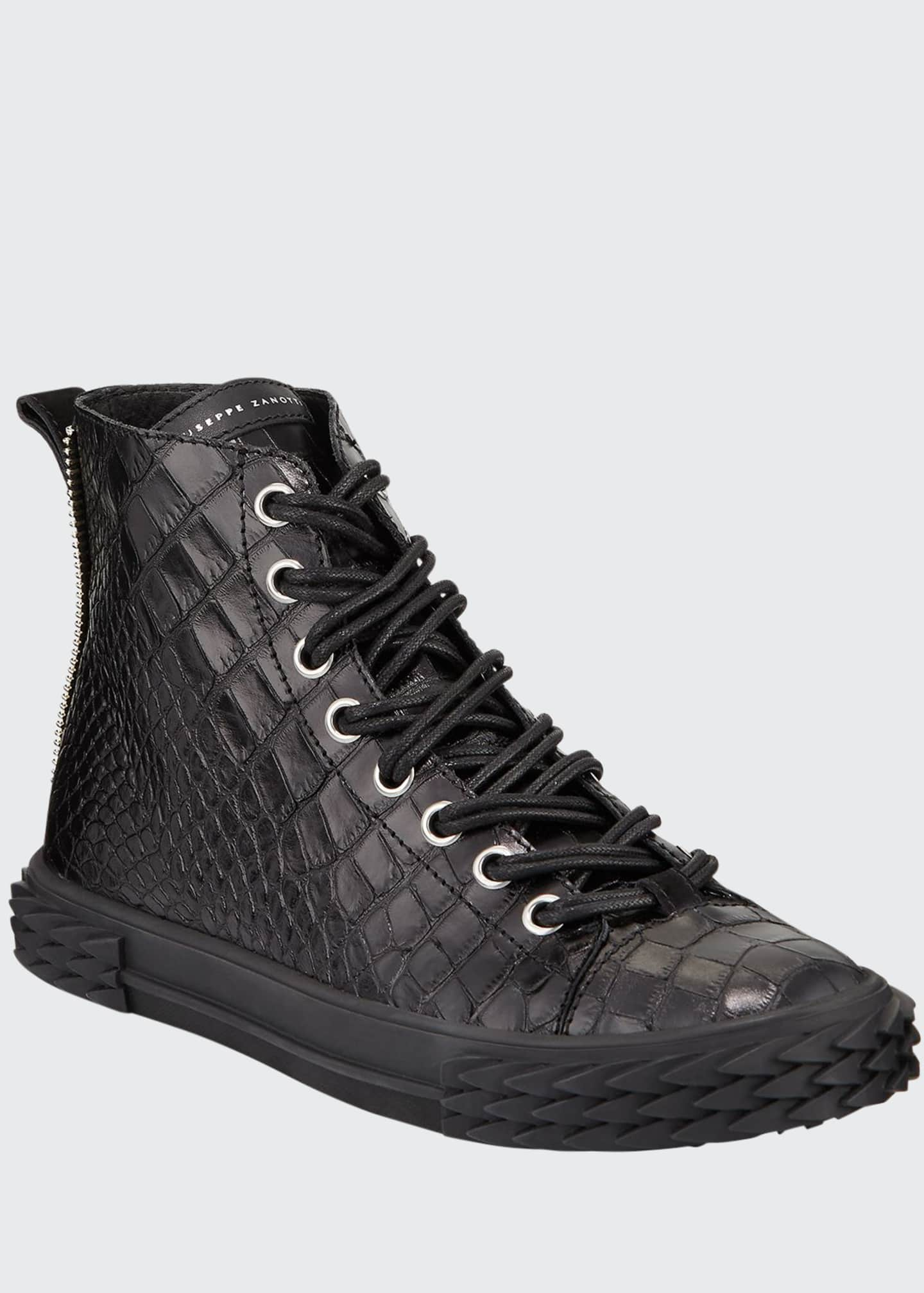 Image 1 of 3: Men's Blabber Croc-Embossed High-Top Sneakers