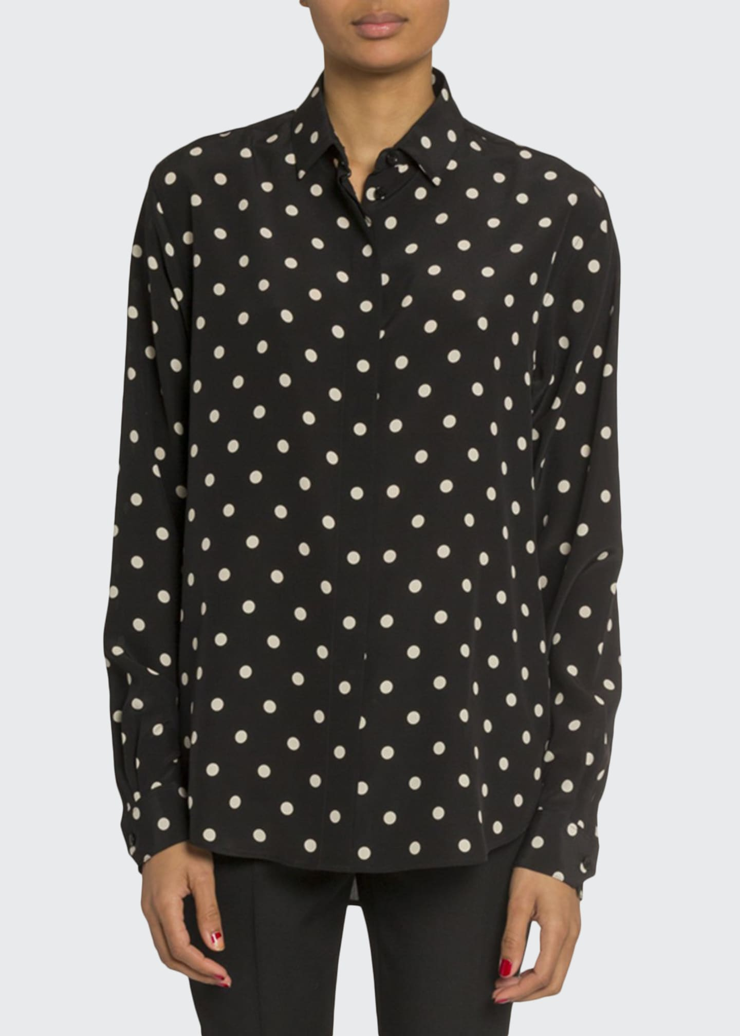 Image 1 of 3: Polka Dot Long-Sleeve Button Front Blouse