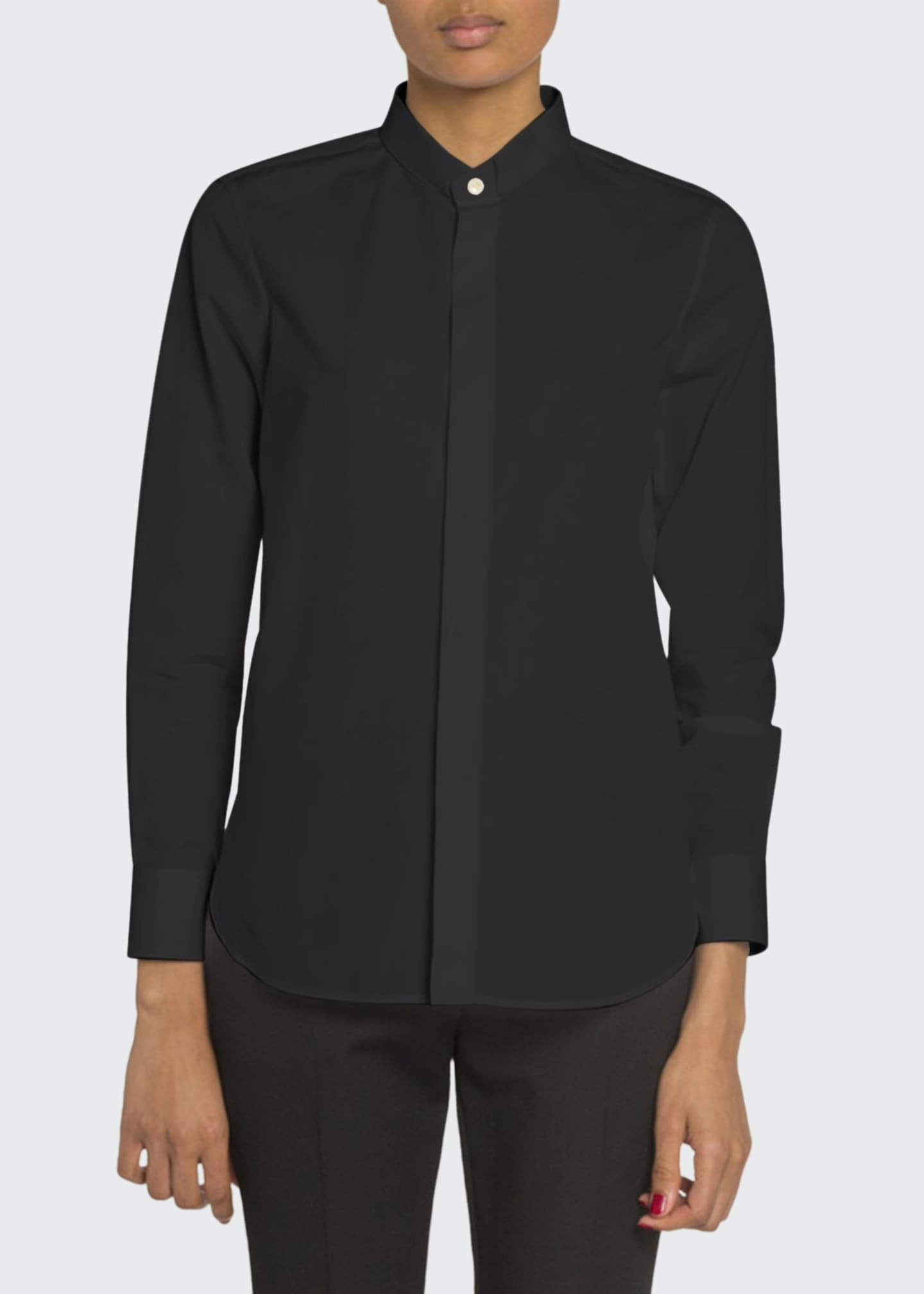 Image 1 of 2: Mandarin Collar Button-Front Poplin Blouse