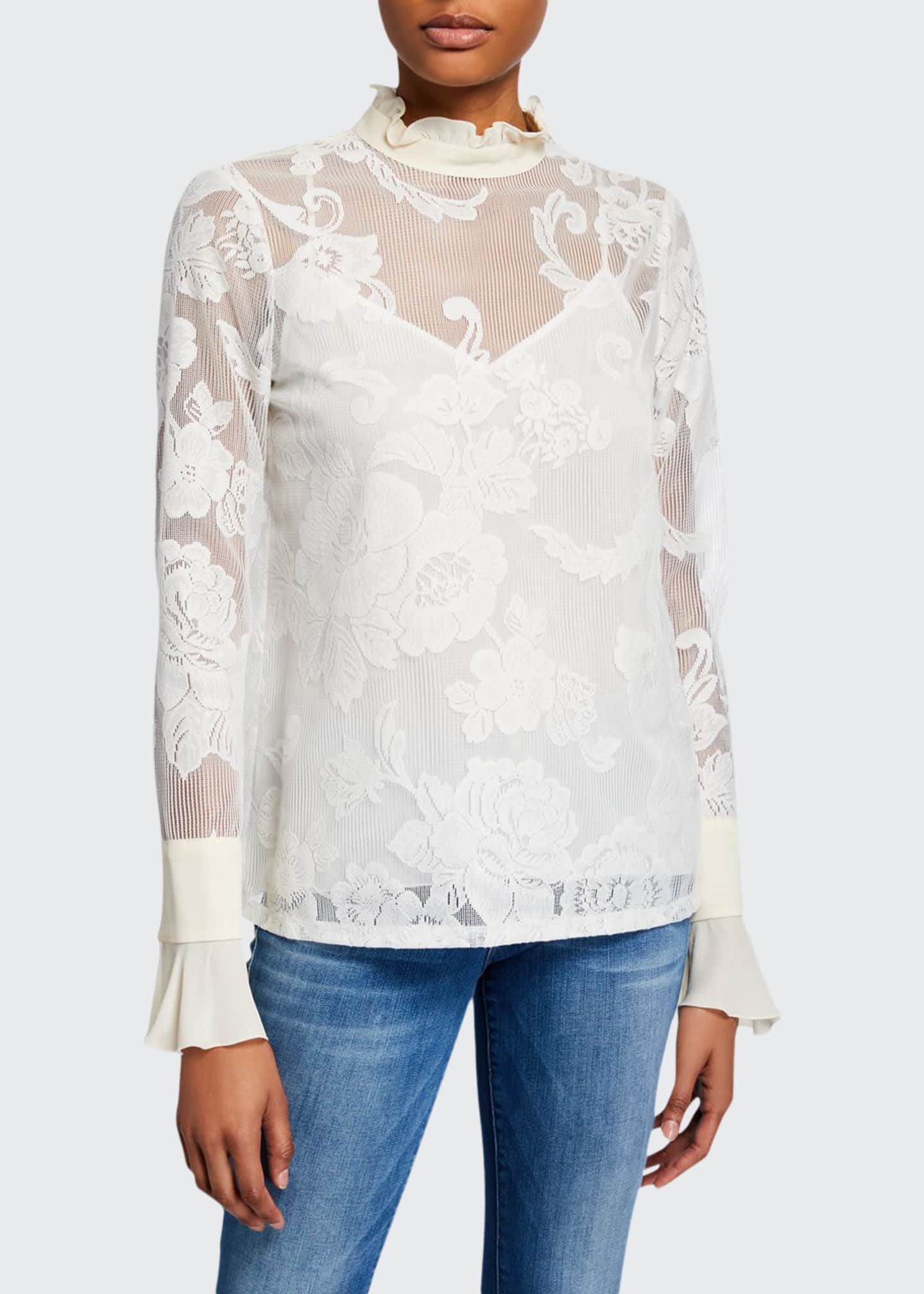See by Chloe Floral Mesh Mock-Neck Blouse