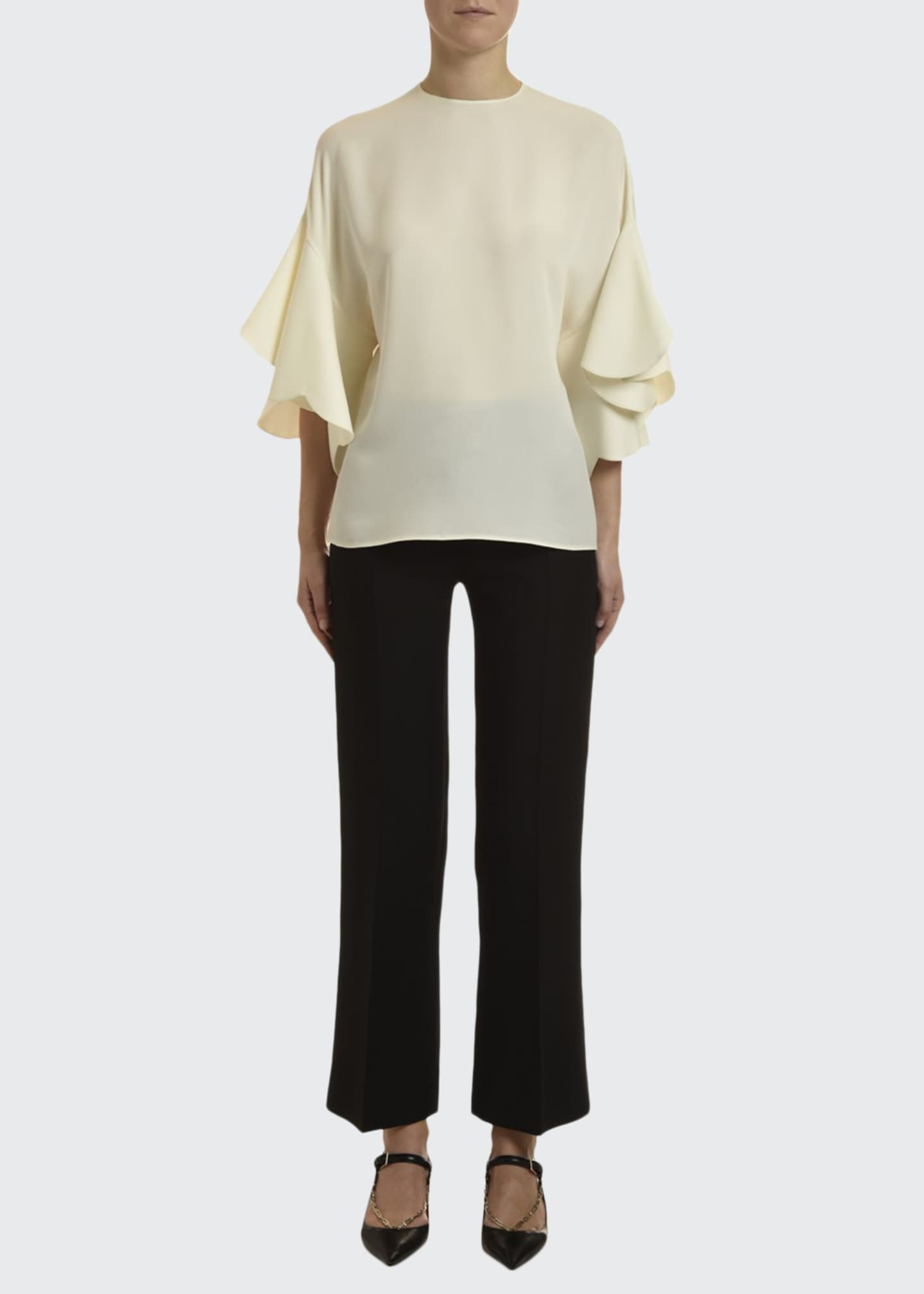 Image 1 of 3: Georgette Draped-Sleeve Blouse