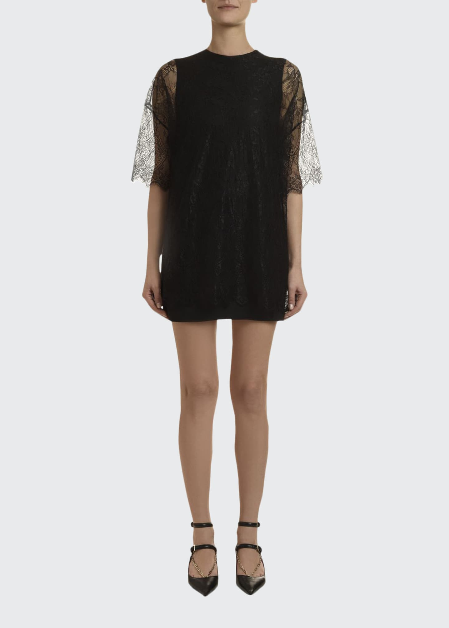 Image 1 of 4: 1/2-Sleeve Shift Dress w/ Lace Overlay