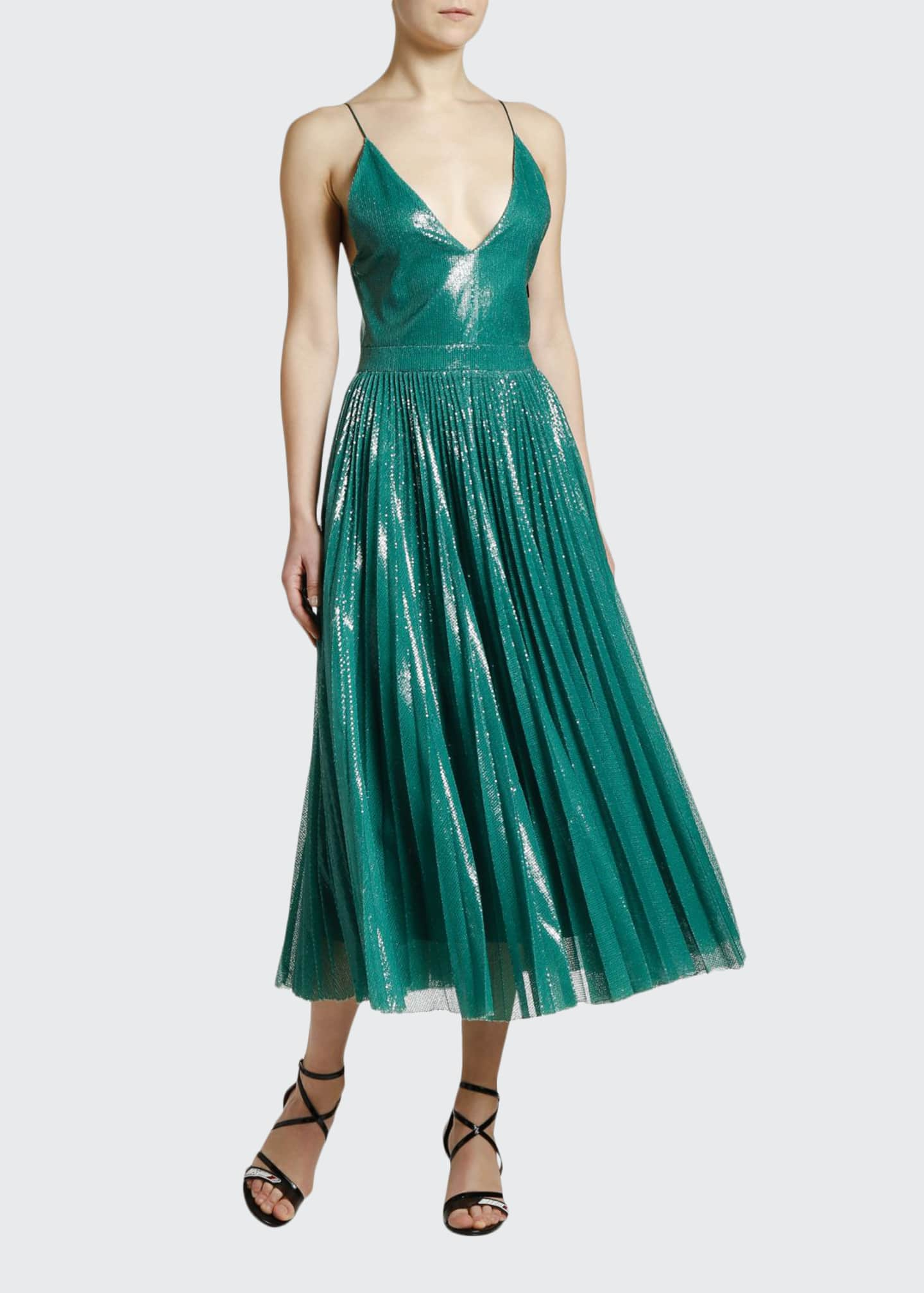 Image 1 of 3: Shimmery V-Neck Pleated Cami Dress