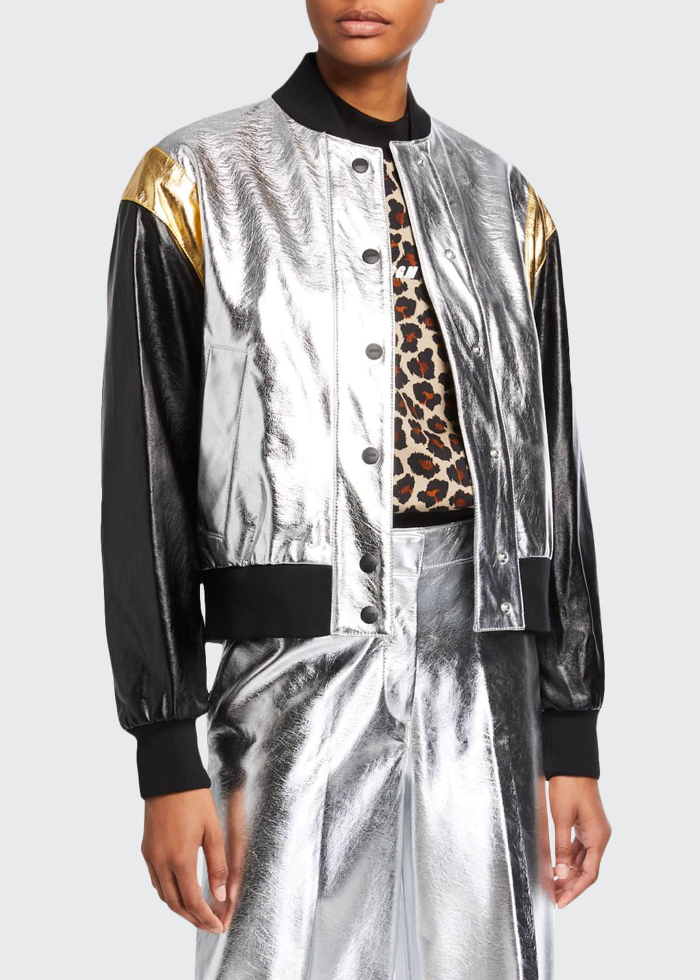 Image 1 of 3: Metallic Bomber Jacket