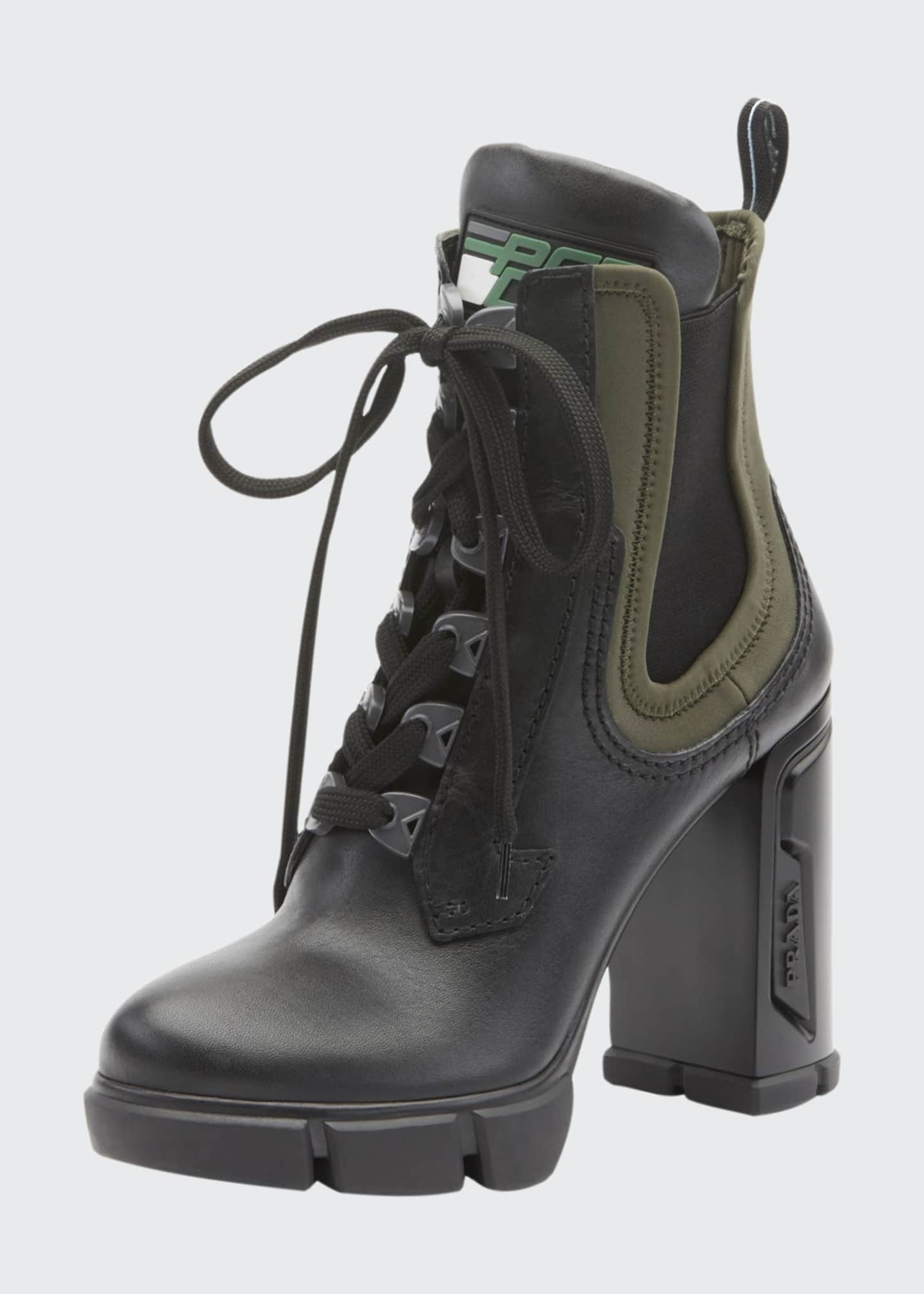 Prada Leather/Stretch Lace-Up Combat Booties