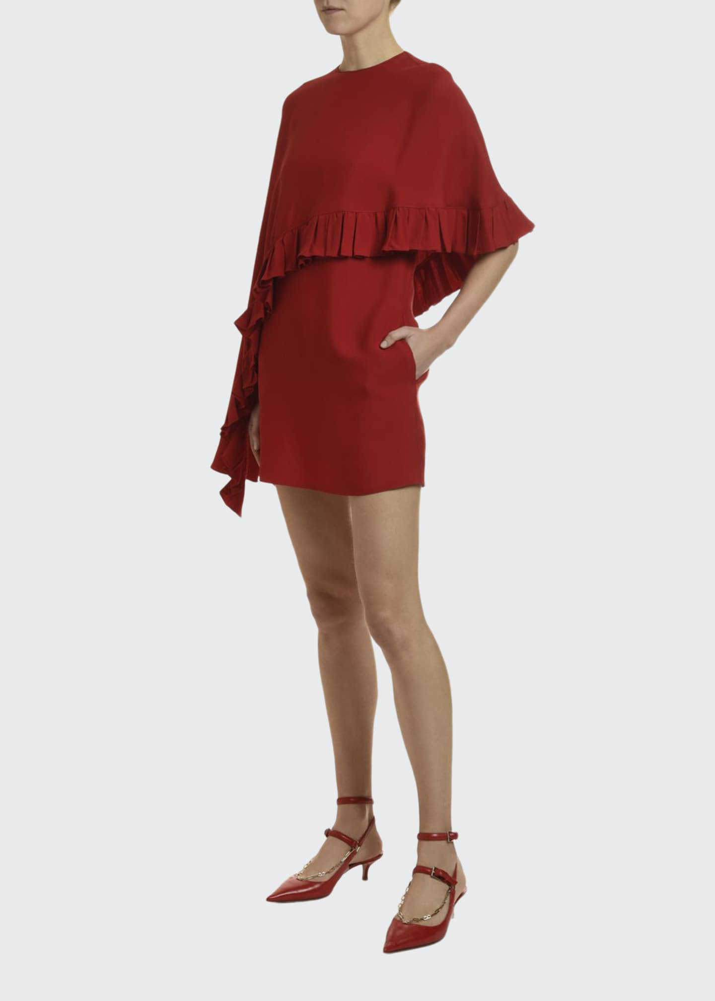 Valentino Draped Cape Jersey Dress