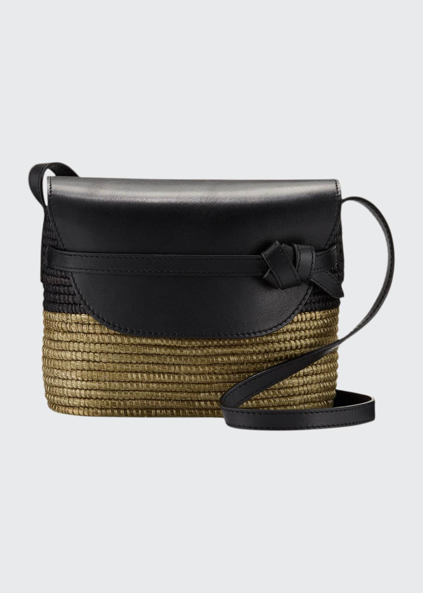 Image 1 of 3: Woven and Leather Crossbody Bag