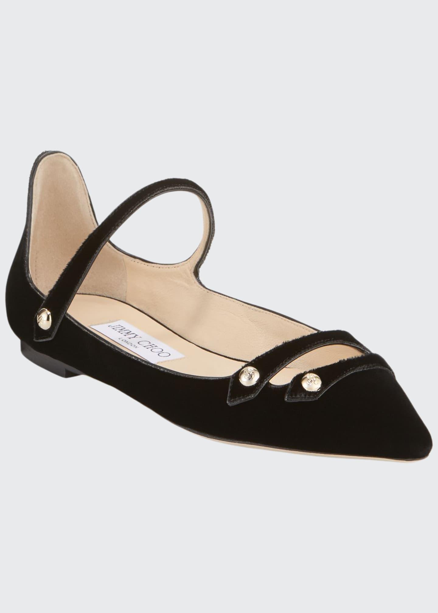 Jimmy Choo Layton Velvet Mary Jane Ballerina Flats