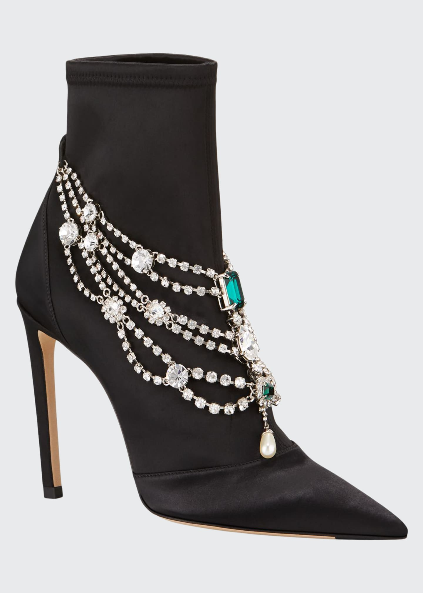 Jimmy Choo Lyja Stretch Booties with Layered Crystal