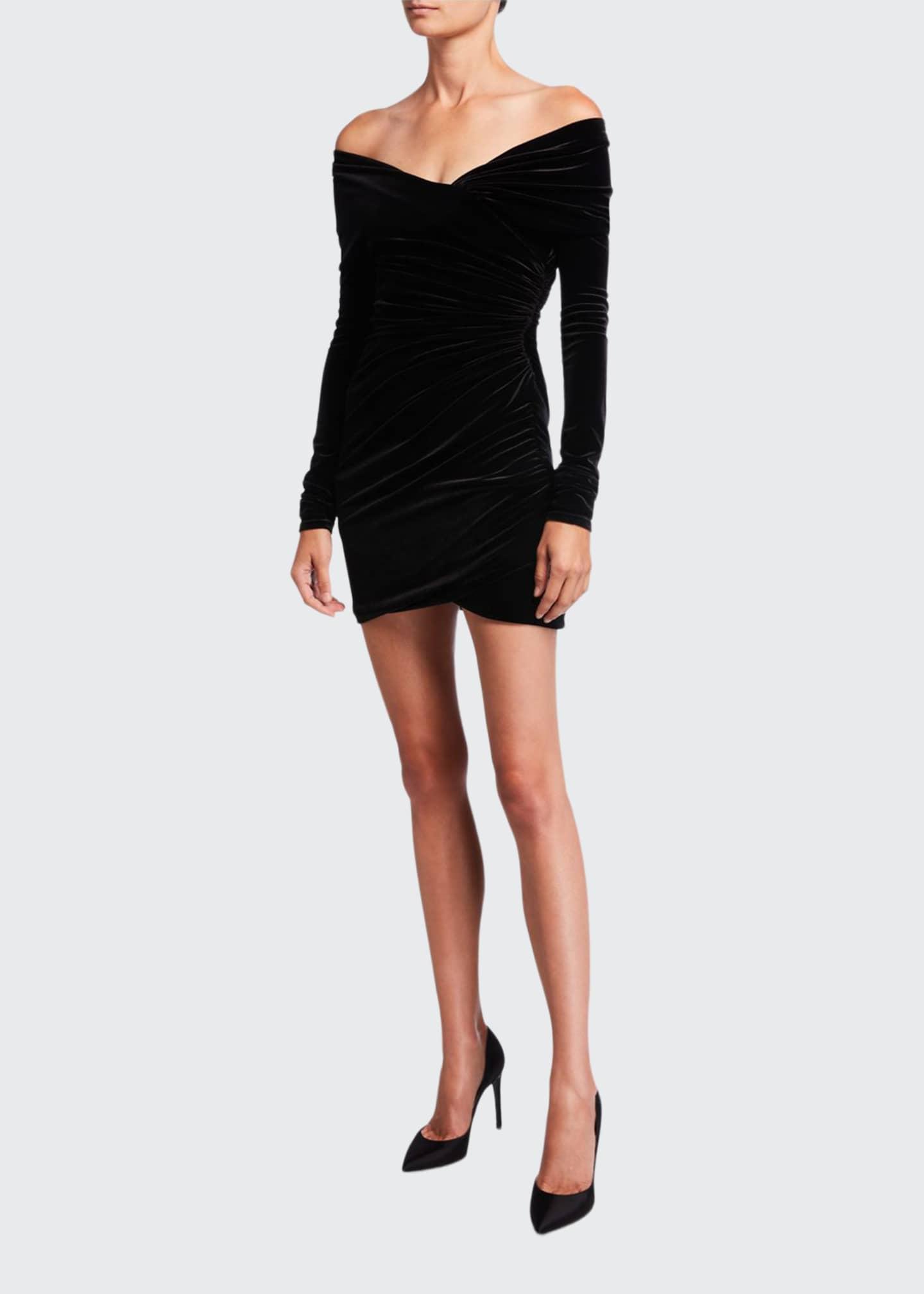 Alexandre Vauthier Velvet Off-the-Shoulder Dress
