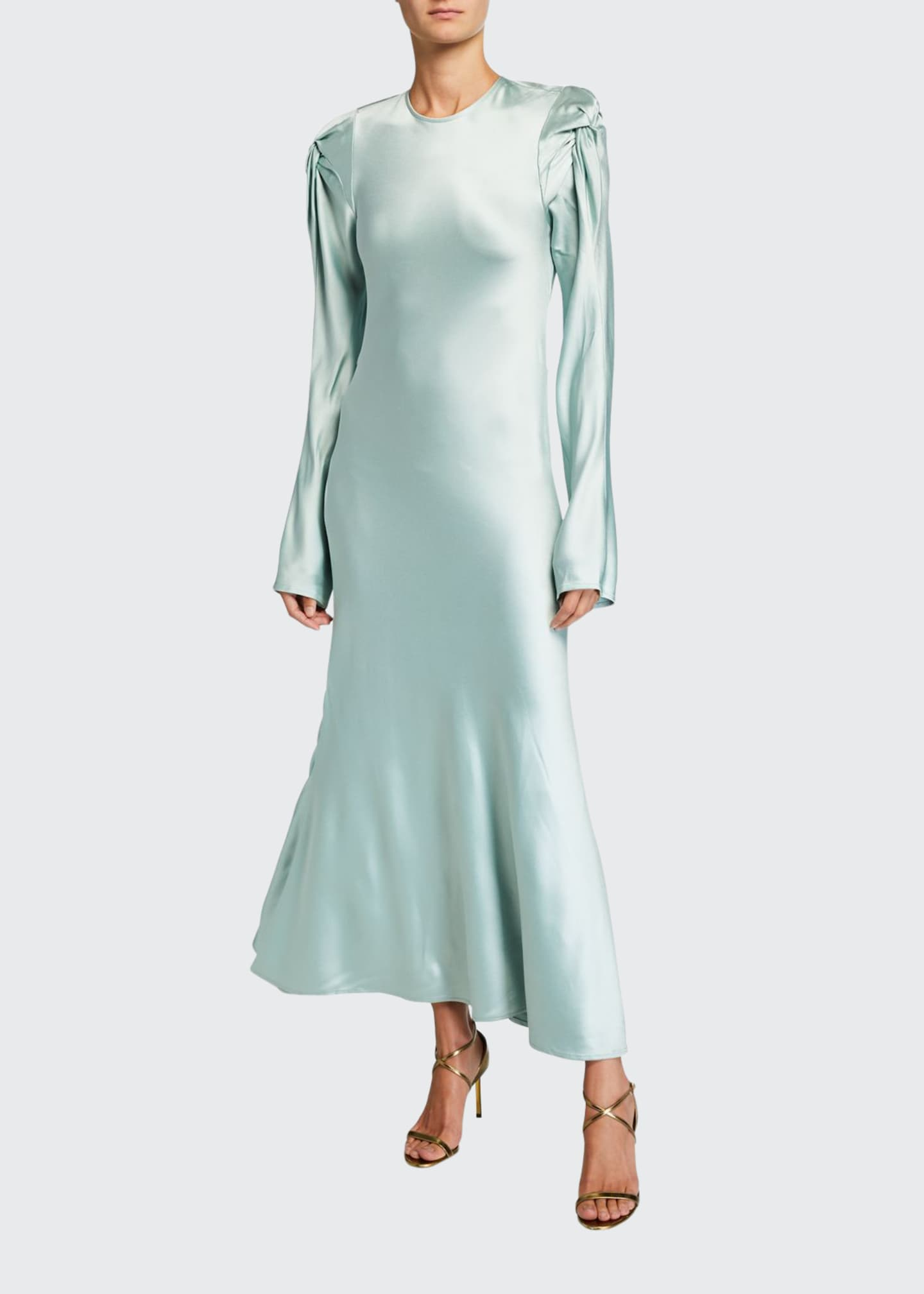 Maggie Marilyn Love Me Knot Satin Long-Sleeve Dress