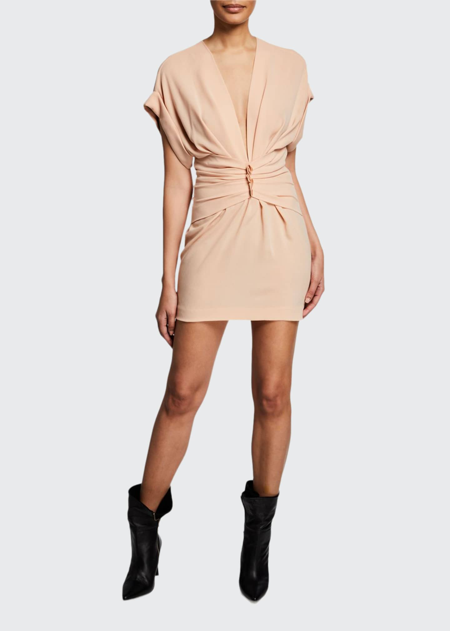 Image 1 of 2: Gastona V-Neck Short-Sleeve Ruched Mini Dress