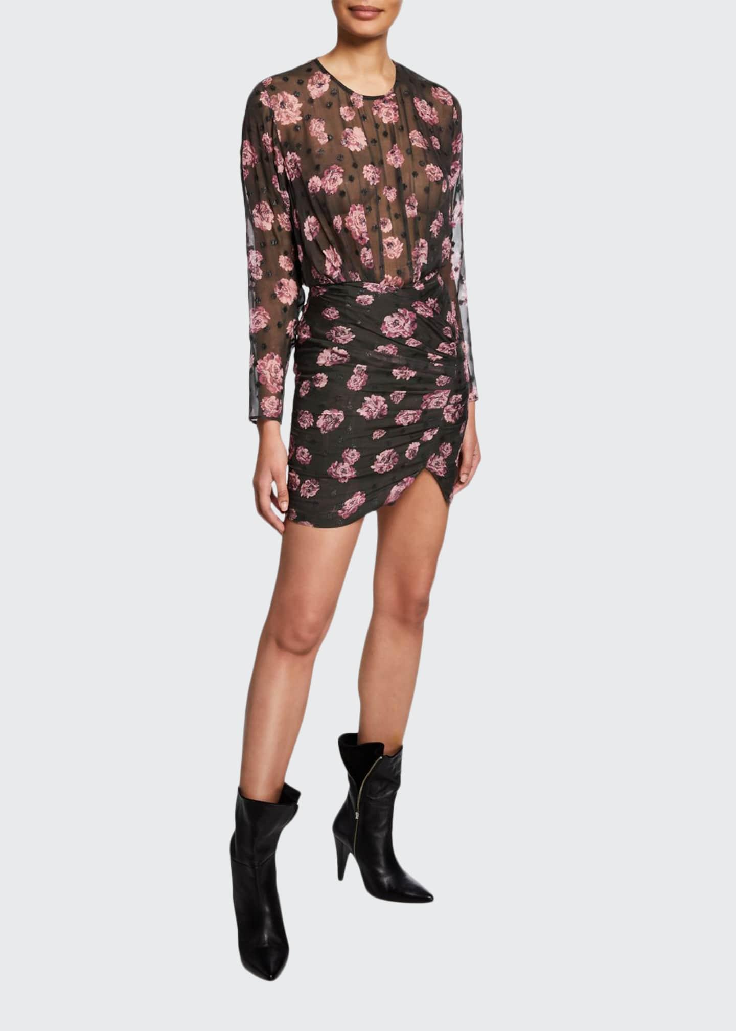 Iro Adelino Dotted Floral Long-Sleeve Mini Dress