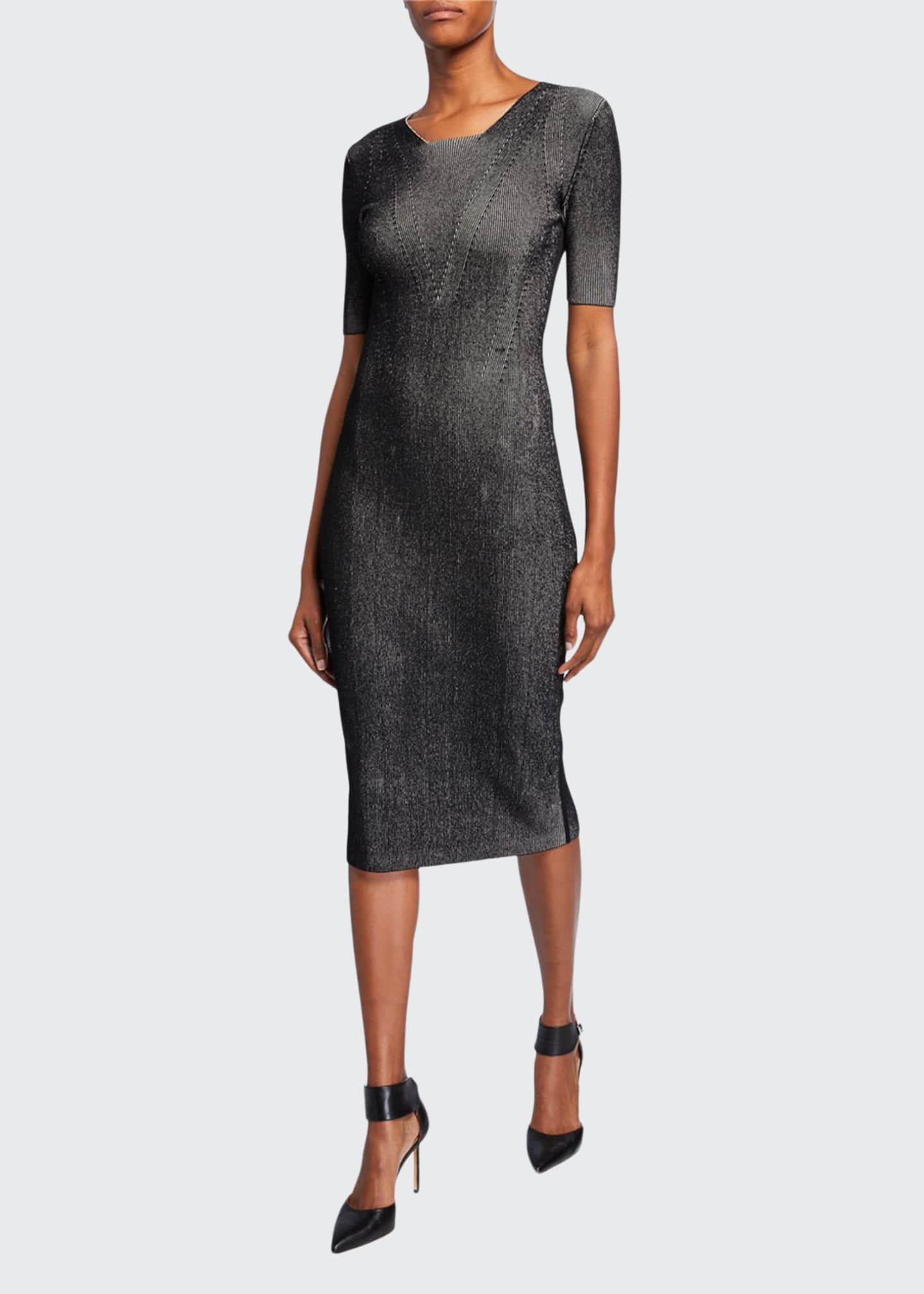 Image 1 of 2: Ribbed Compact Knit Dress
